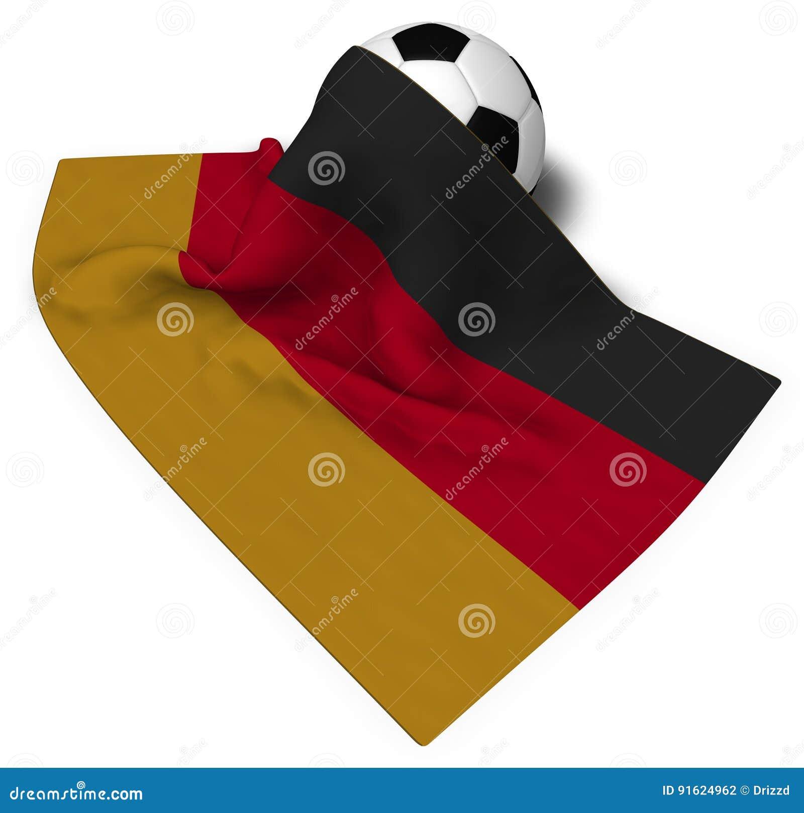 Soccerball och flagga av Tyskland