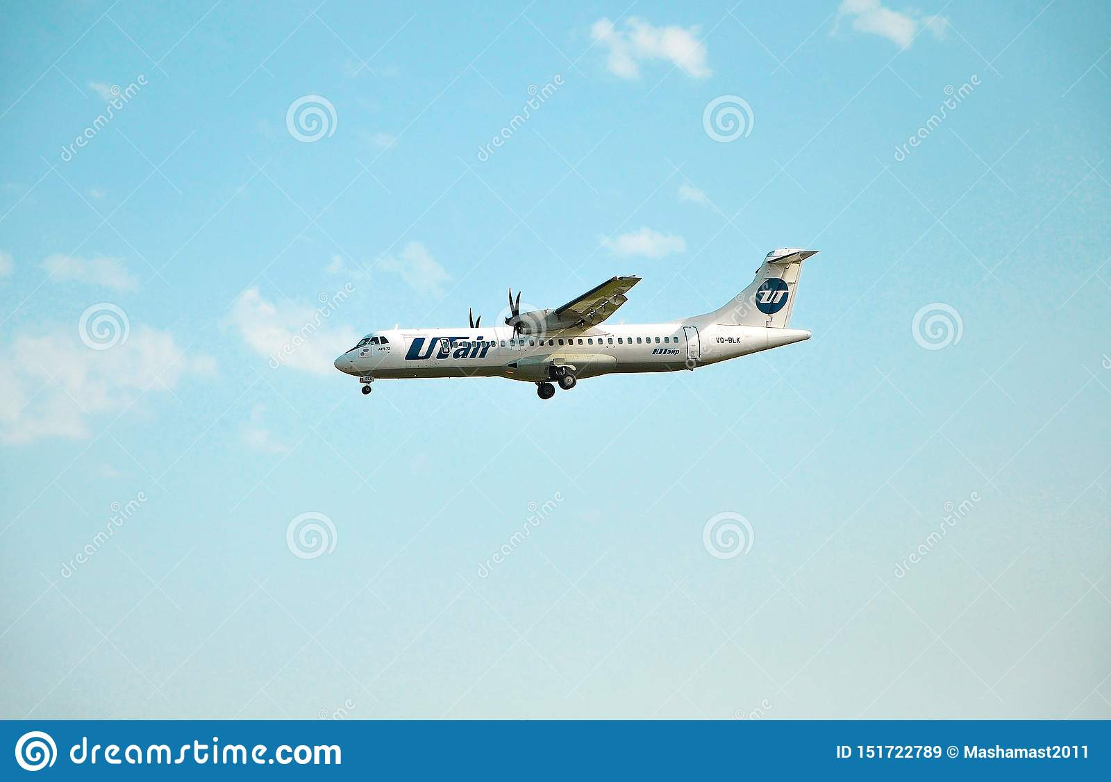 Sochi Ryssland - Oktober 8, 2018 - flygplan ATR-72-212A VQ-BLK av UTair flygbolag
