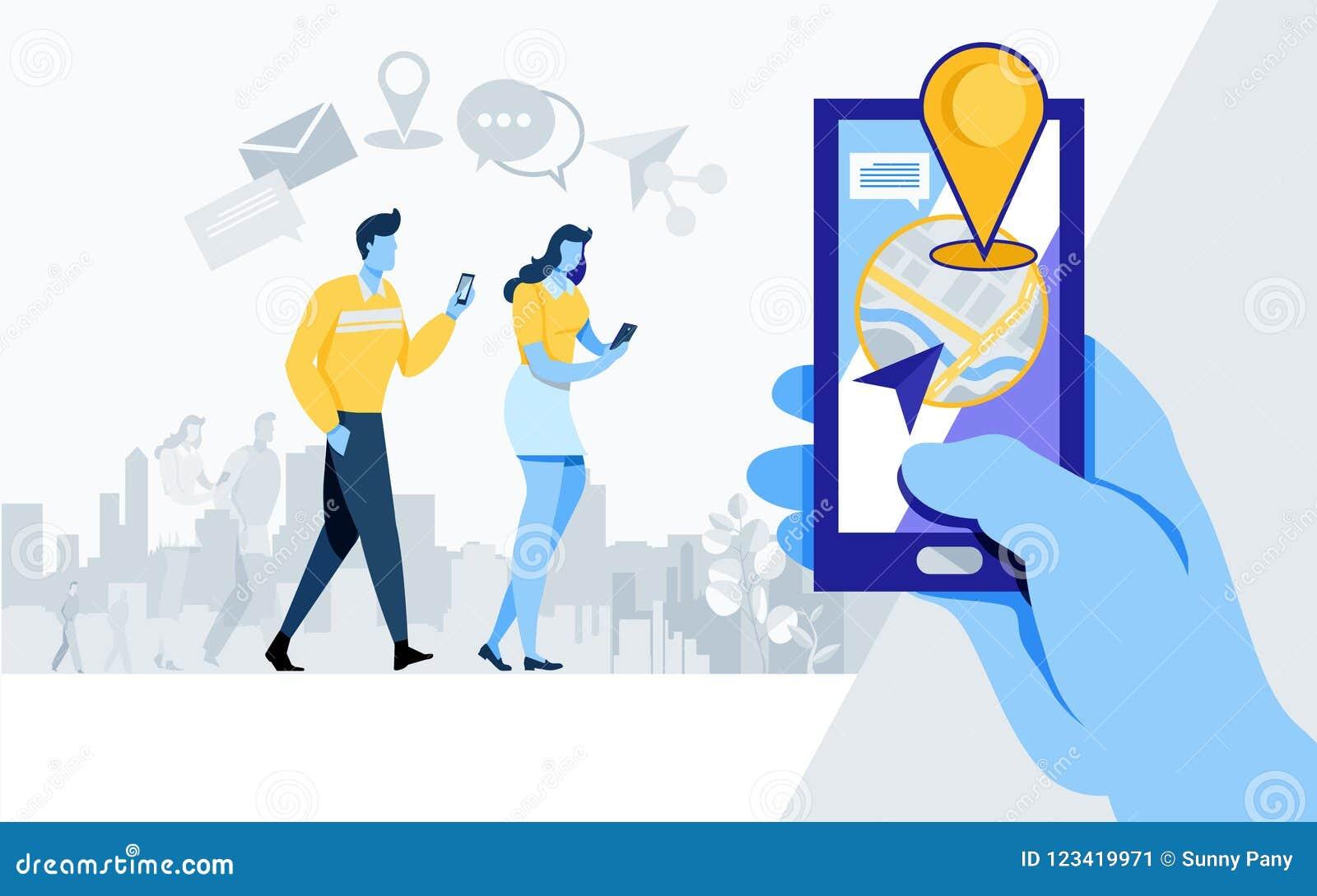 Sociaal Media Aandeel Online Gemeenschap als, aandeel, toepassing, plaats, navigatie, de Vlakke vector van de beeldverhaalillustr