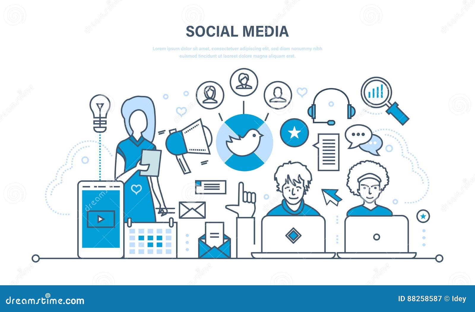 Sociaal media concept Mededelingen, onderhoud en steun, informatie-uitwisseling, technologie