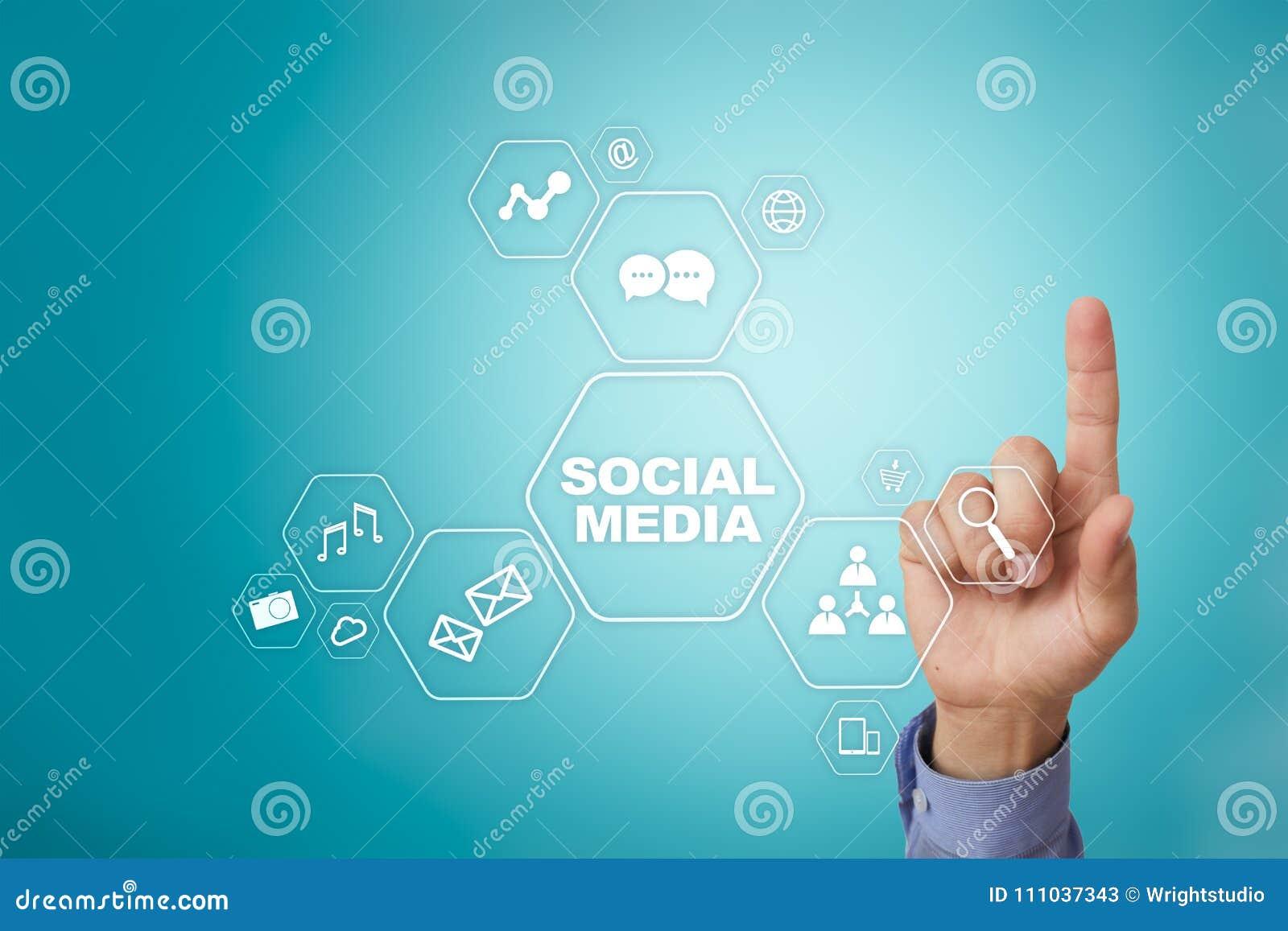 Sociaal media concept op het virtuele scherm SMM marketing Mededeling en Internet-technologie