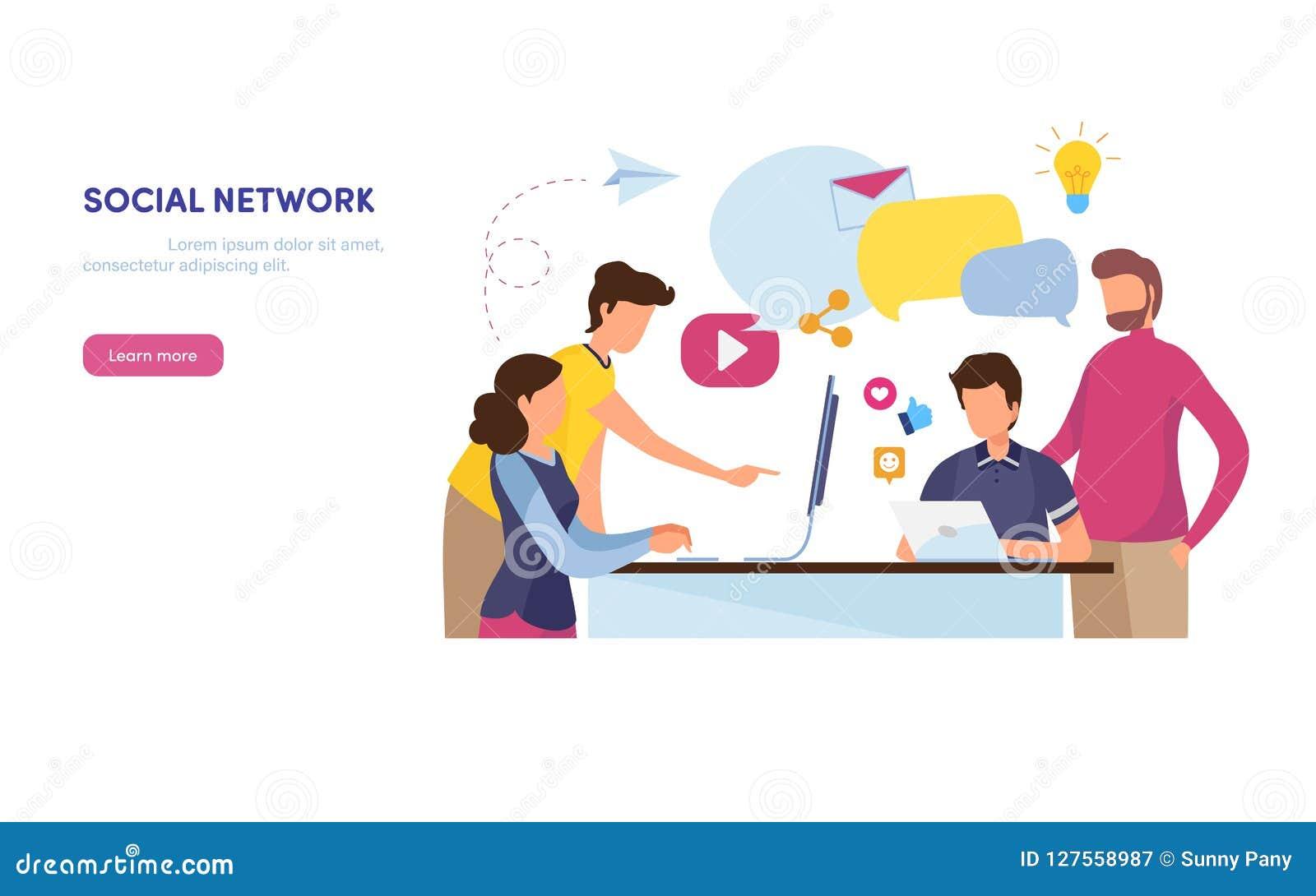 Sociaal netwerk Online Gemeenschap marketing inhoud Sociale media, als, aandeel, post De vlakke grafische vector van de beeldverh