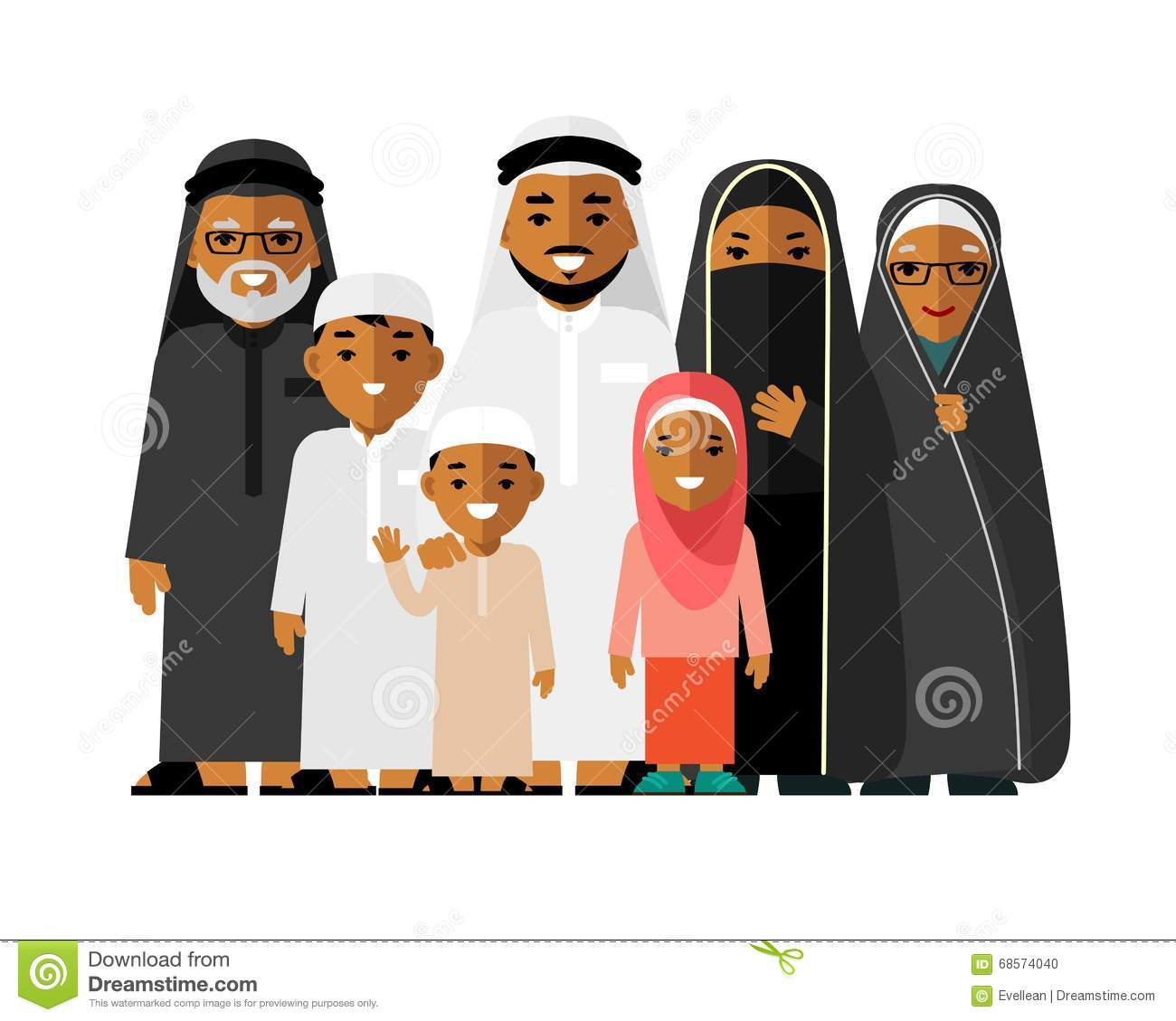 Muslim Man And Woman Old Background Cartoon Vector