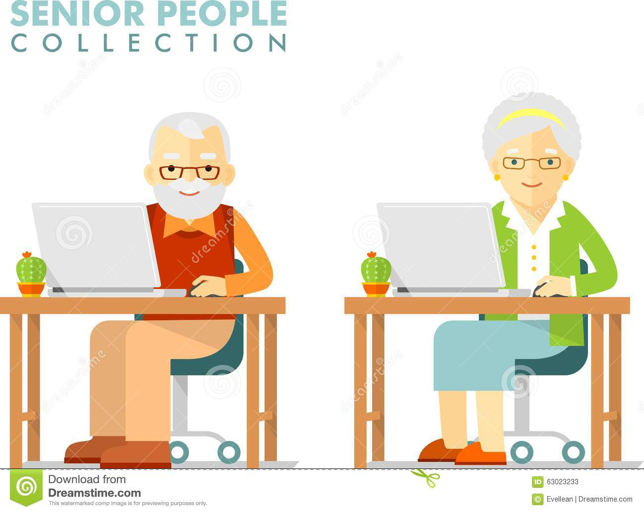Social Concept - Old People Using Computer Stock Vector ...