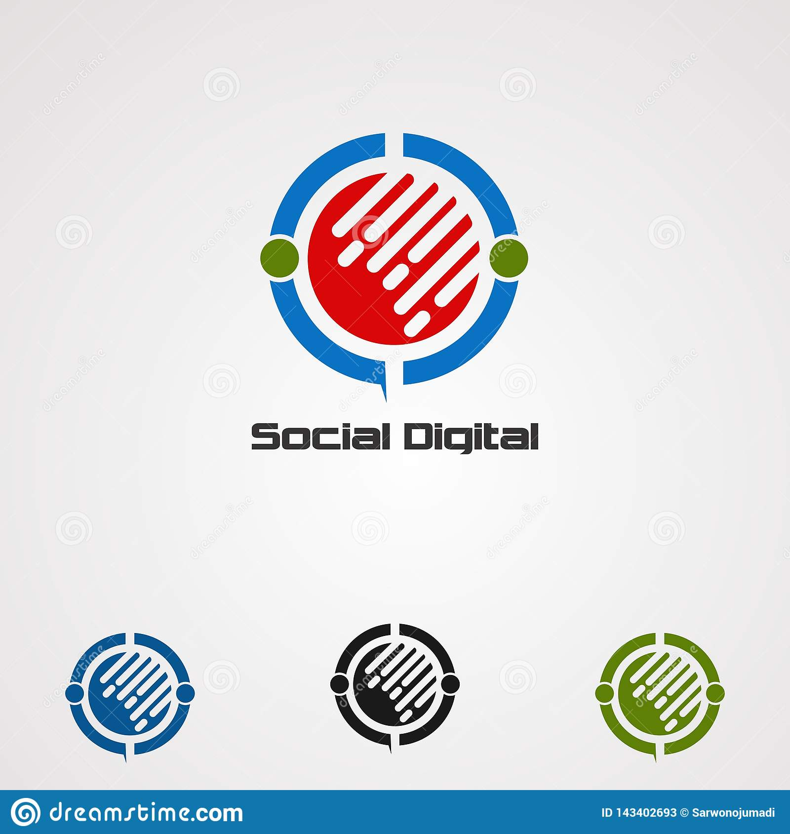 Social digital logo vector, icon, element, and template for company