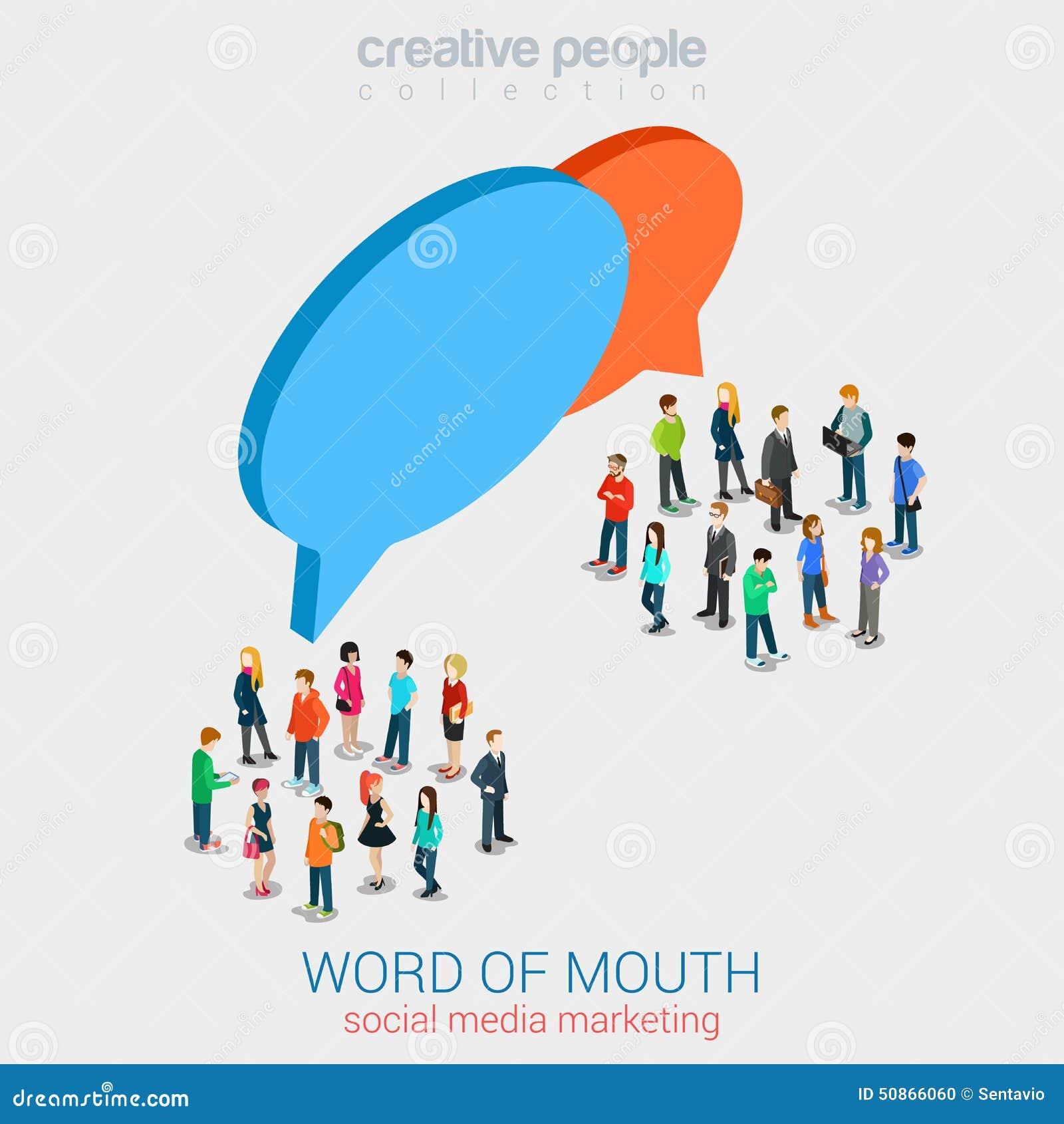 social marketing word of mouth gossip flat 3d web