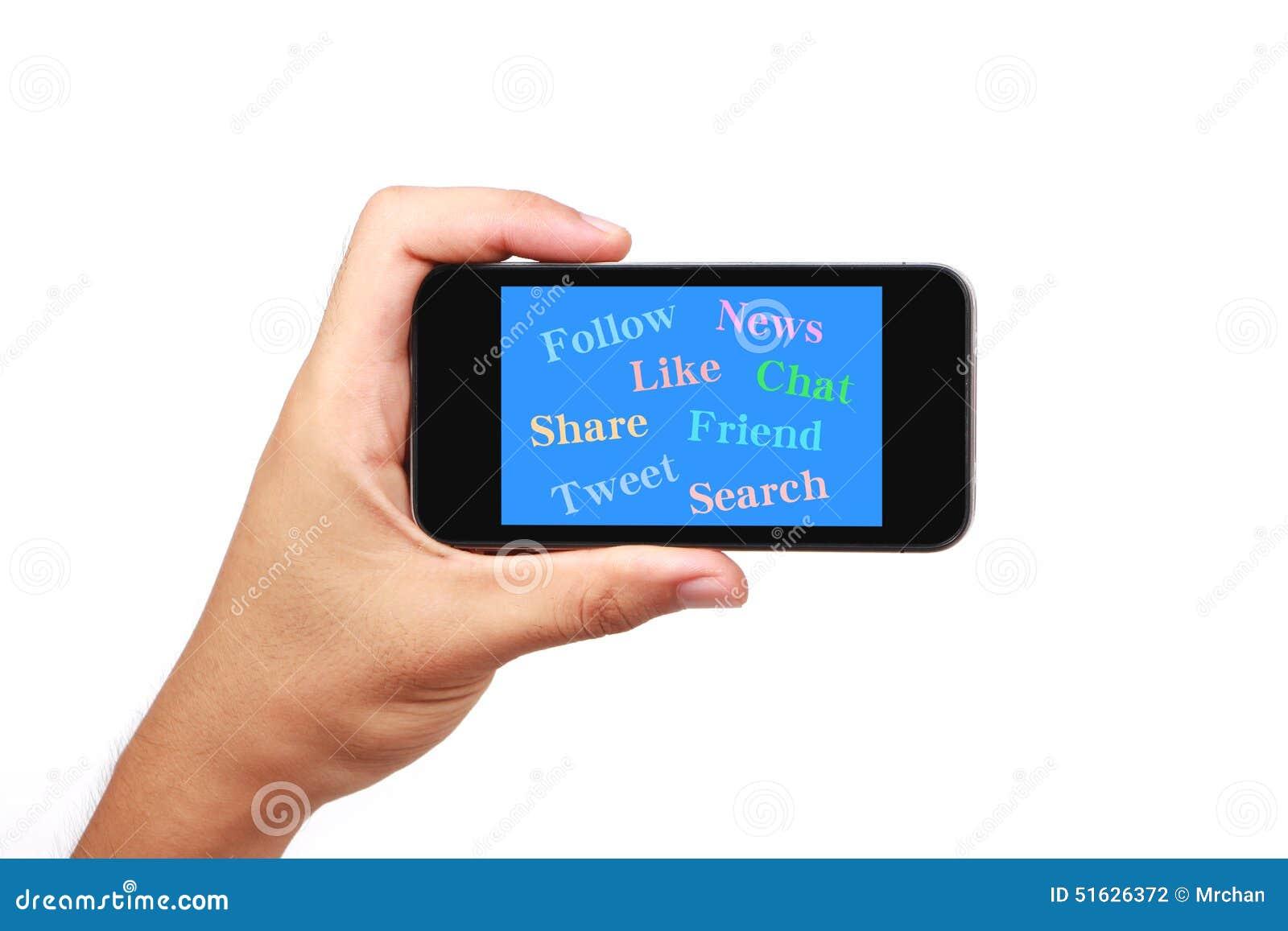 Social massmediabegreppsSmart telefon med handen