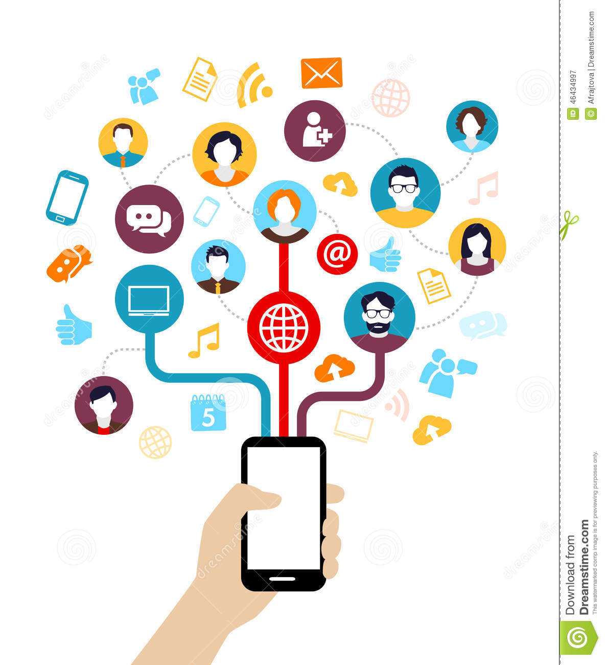Social media background - people connecting through modern technology ...