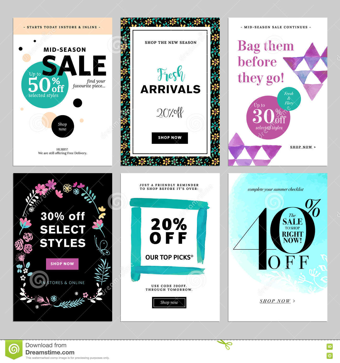 Social Media Banner Templates Bundle Stock Vector - Illustration of ...