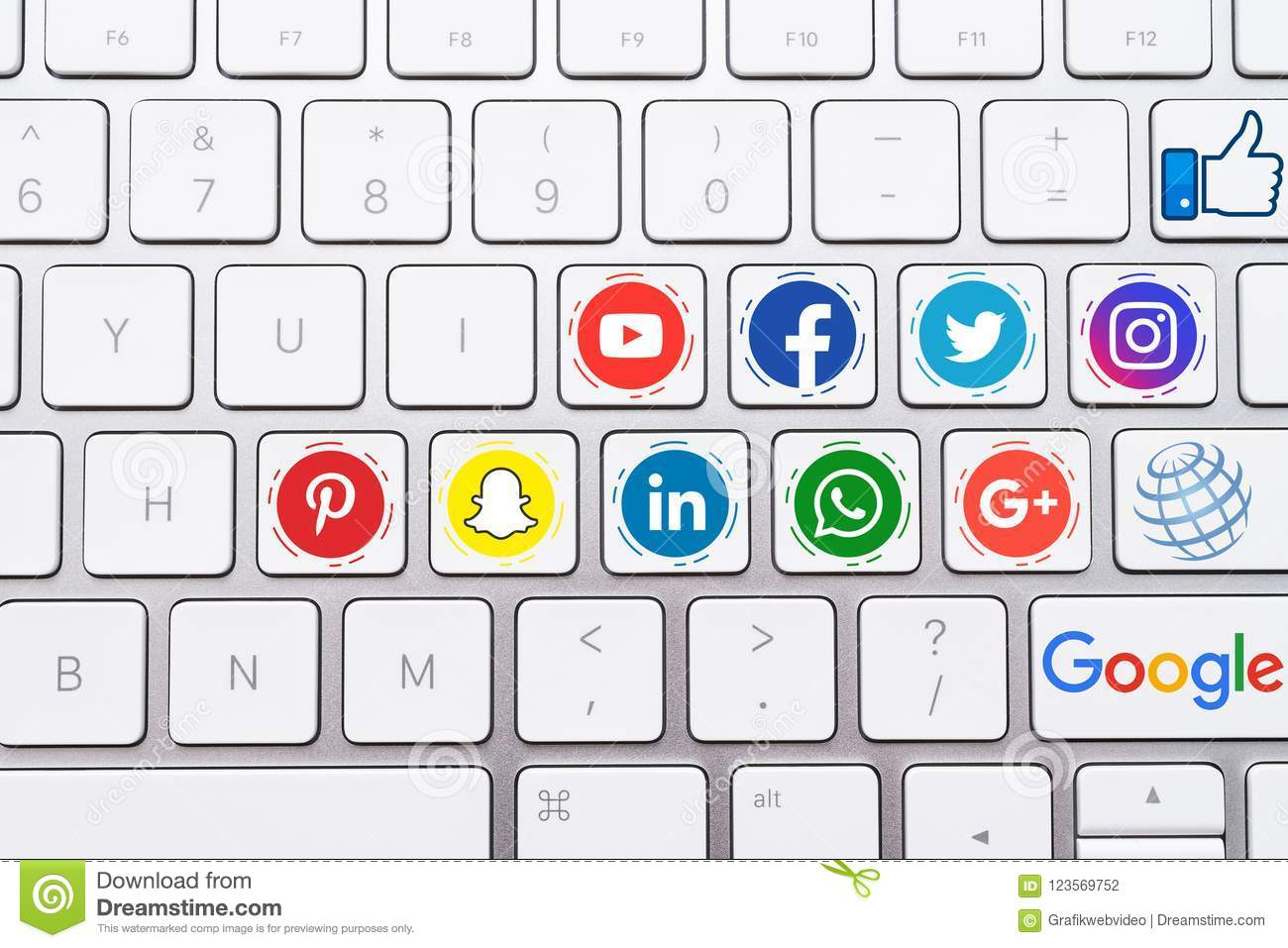 Social Media Button Icons with White Keyboard