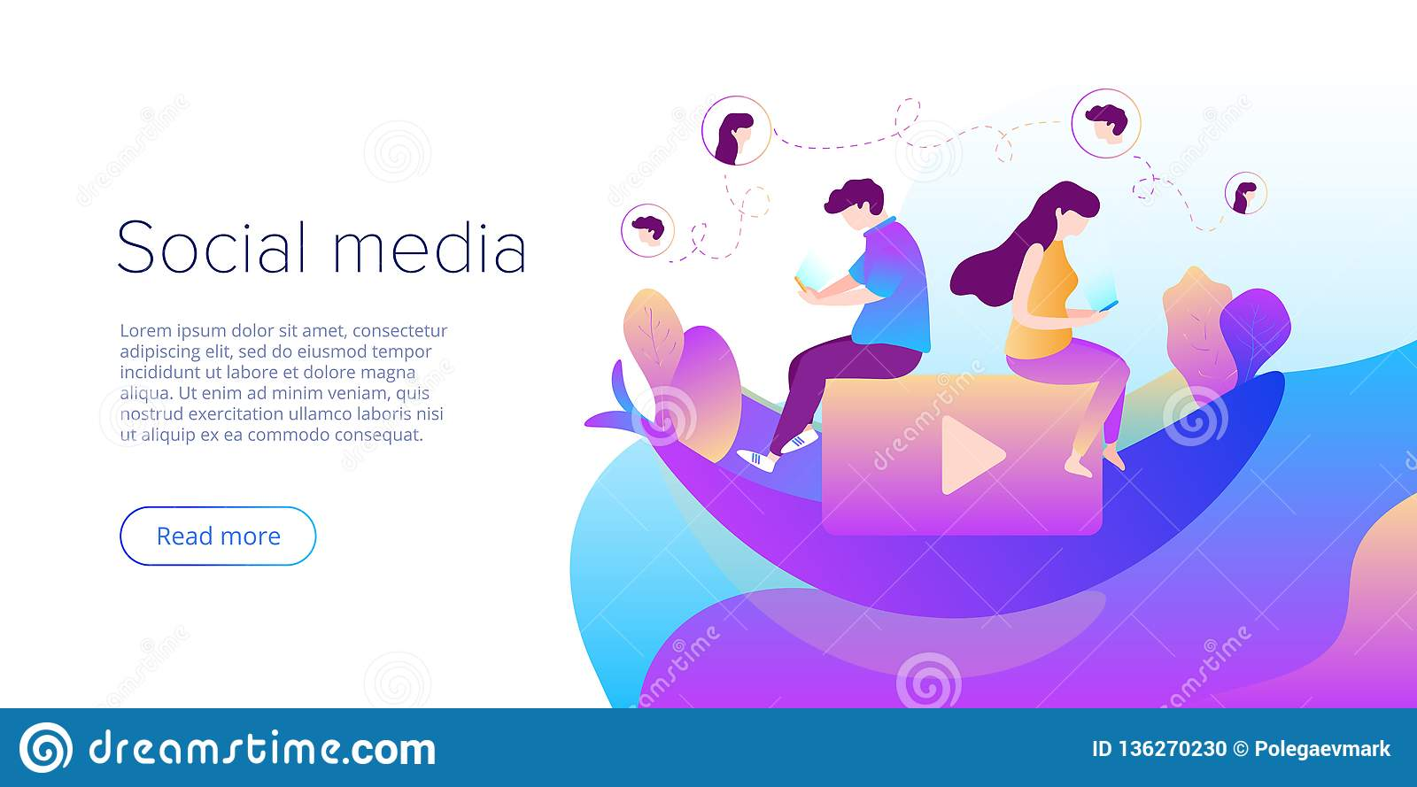 Social media chat concept in vector illustration. Teens using smartphones for virtual conversation, sharing or writing comments.
