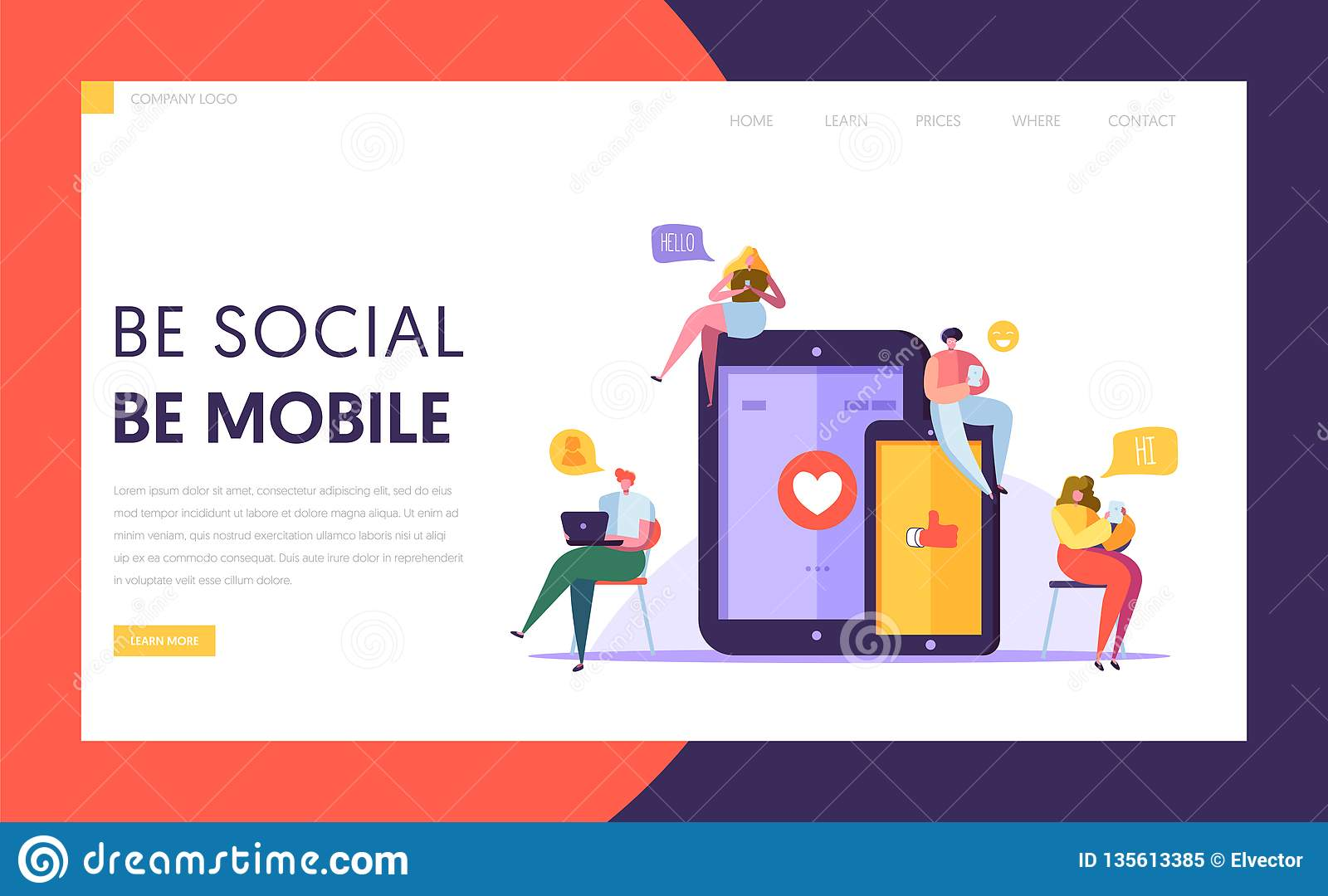 Social Media Communication Technology Characters Landing Page Templpate. Group of Flat People Chat in Mobile and Tablet