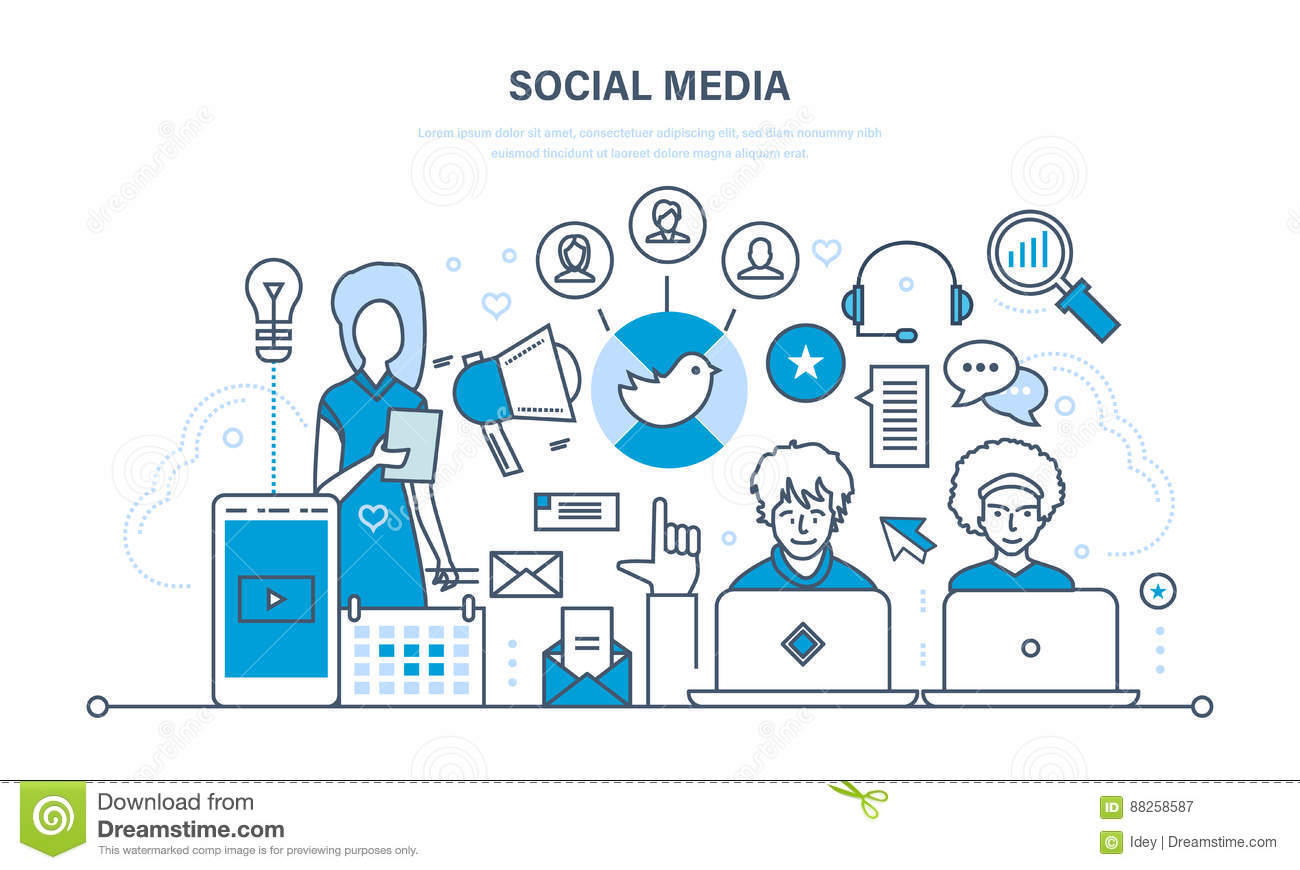 Social media concept. Communications, maintenance and support, information exchange, technology.