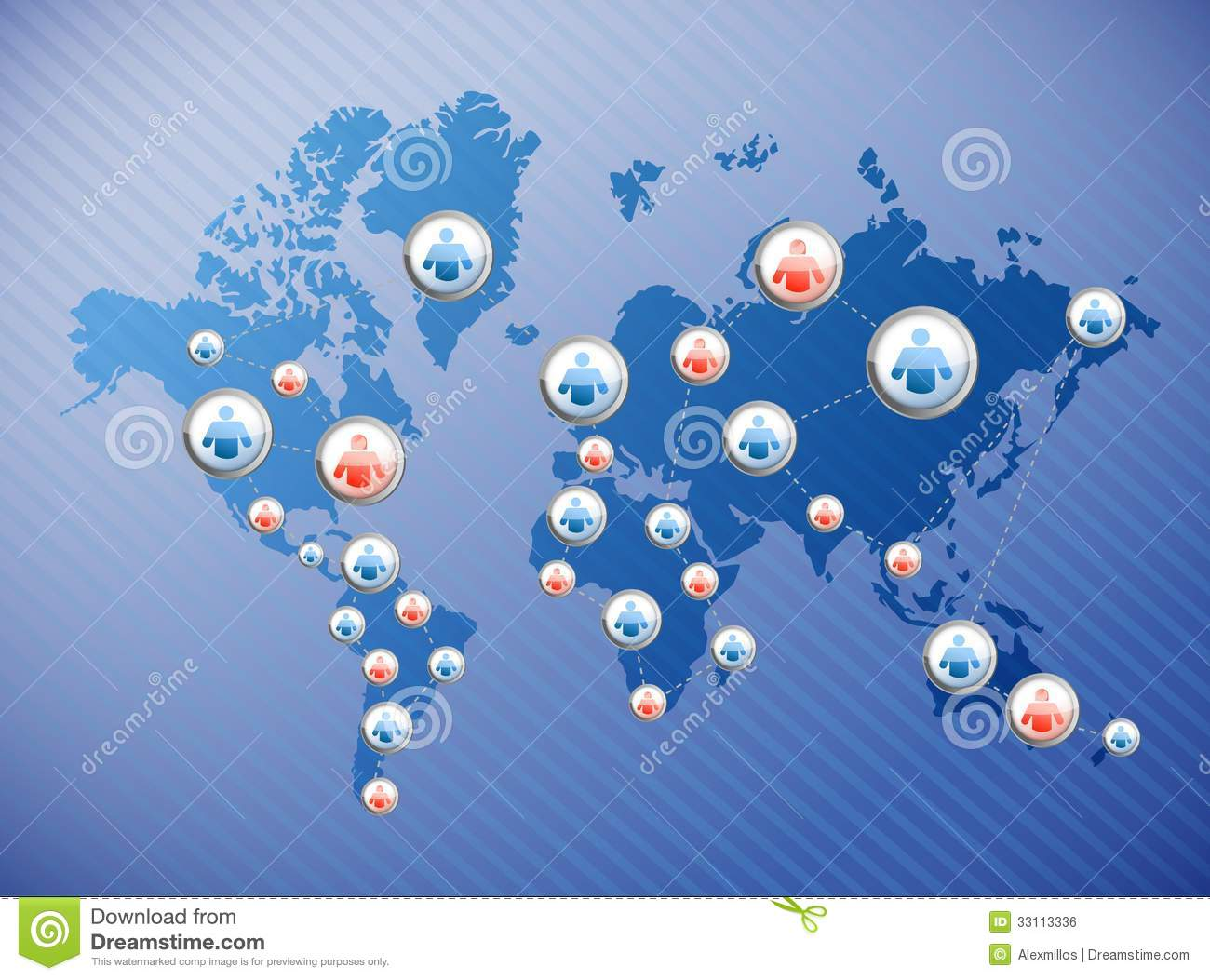 Social Media Connections Illustration Design Over World Map on risk management concept map