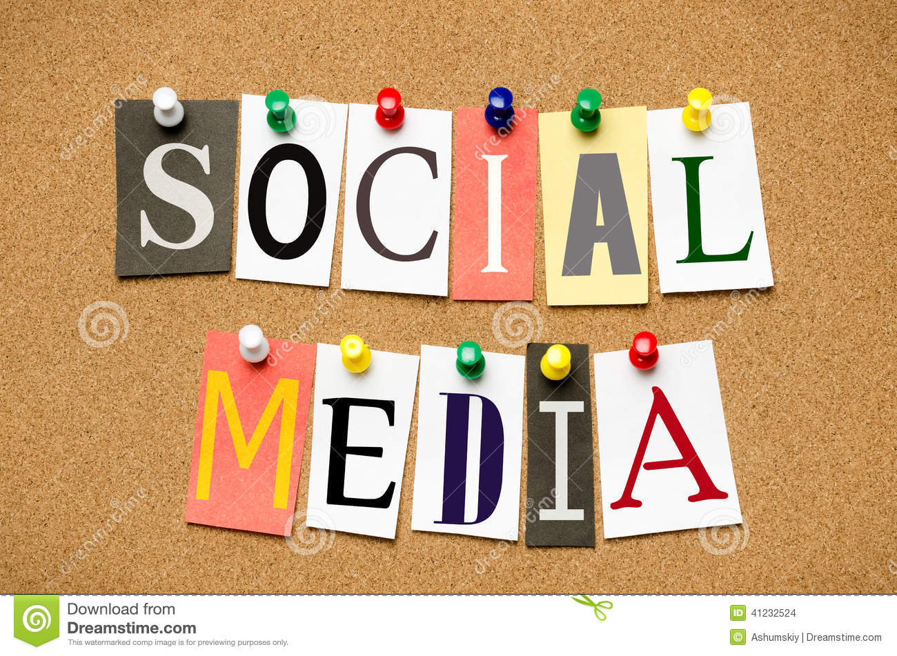 social media from cutout newspaper headlines pinned to a. Black Bedroom Furniture Sets. Home Design Ideas
