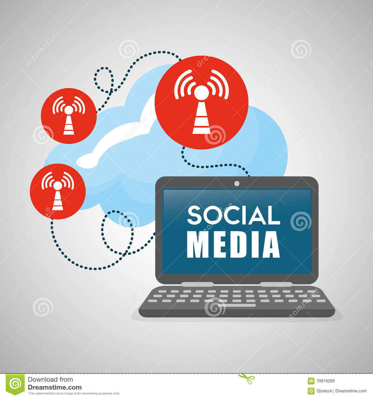 Social Media Design. Laptop Icon. Networking Concept Stock ...