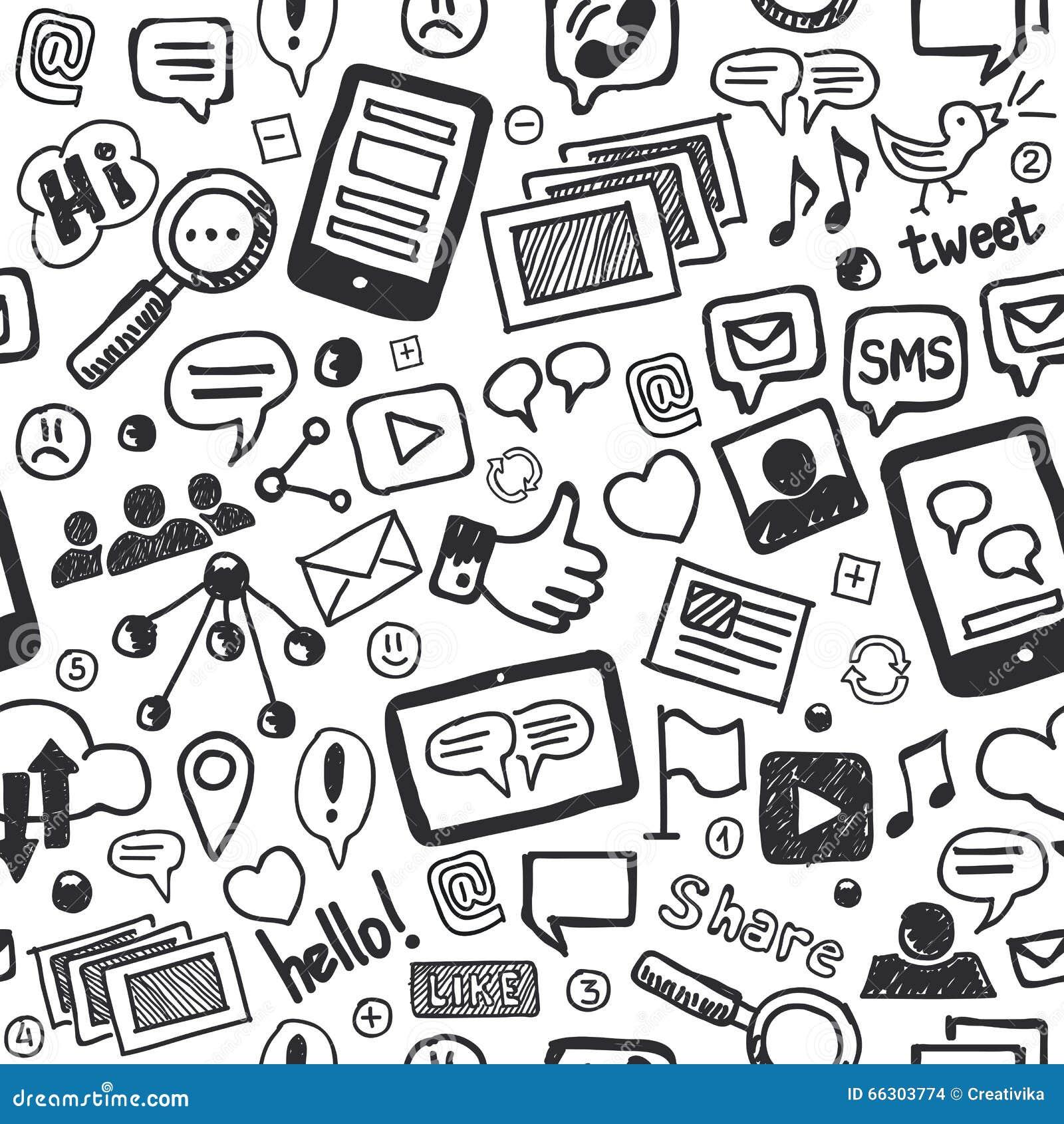 Social Media Doodles Hand Drawn Seamless Pattern Stock ...