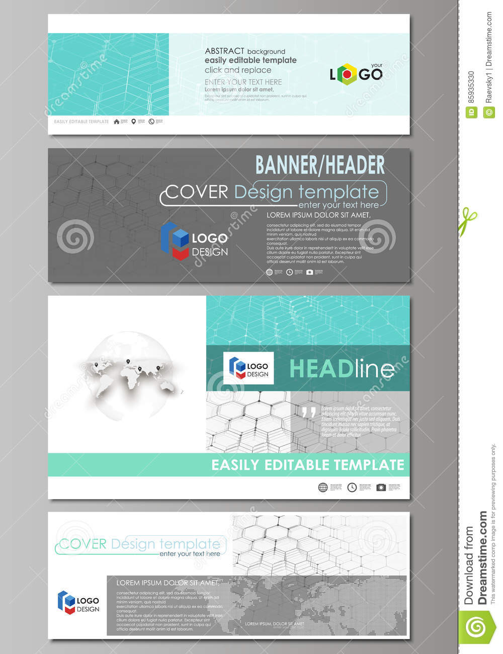Social Media And Email Headers Set, Modern Banners. Abstract Design ...