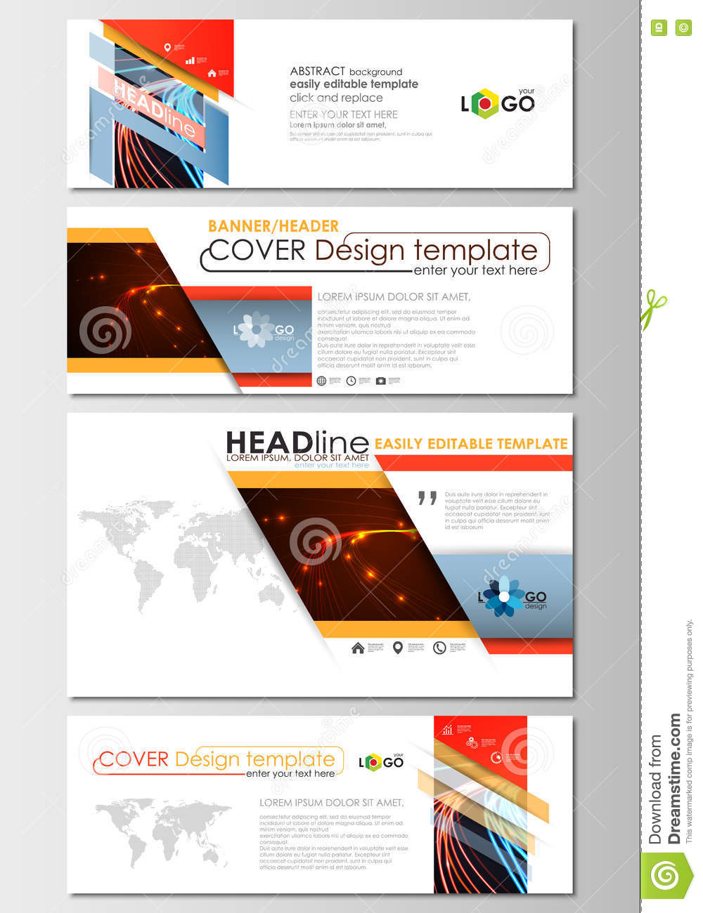 Social Media And Email Headers Set Modern Banners Business Cover - Email ad template