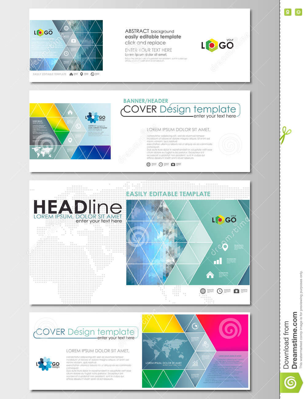Social Media And Email Headers Set, Modern Banners. Business ...