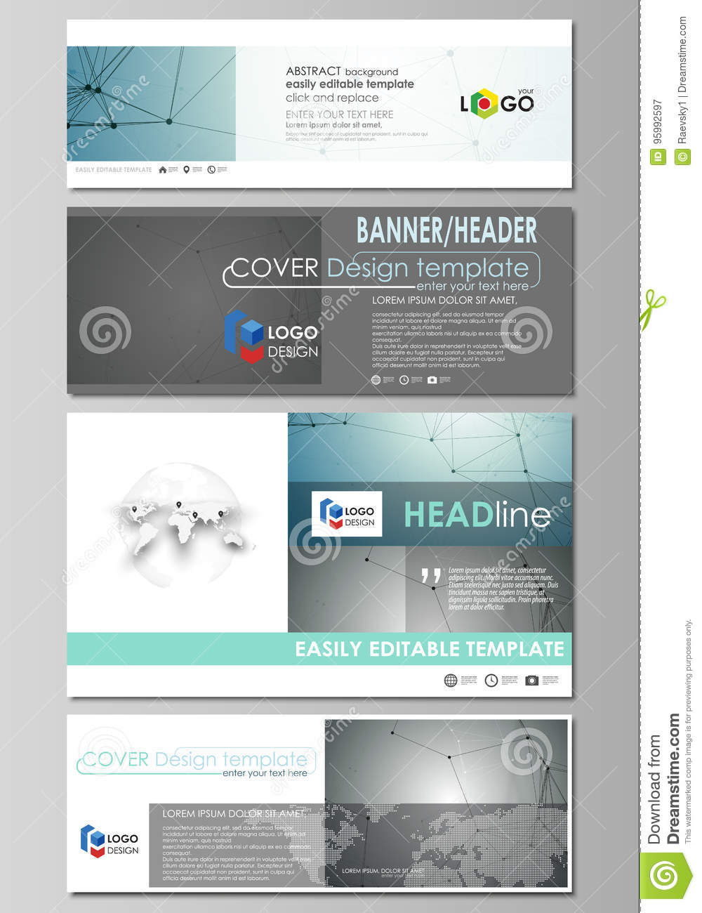 Social Media And Email Headers Set, Modern Banners. Stock Vector ...