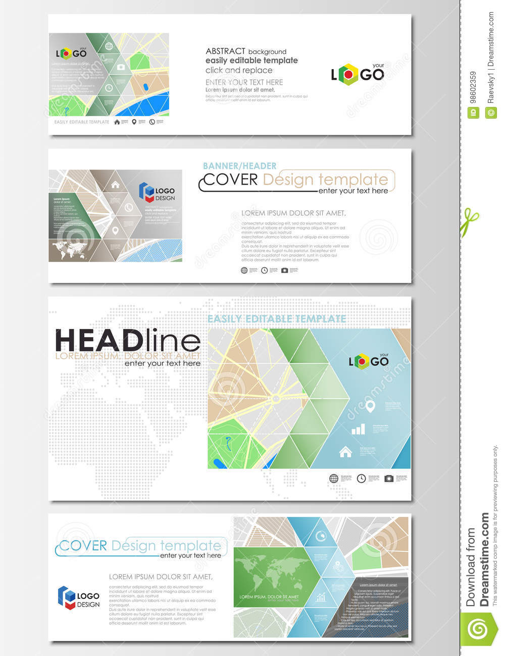 Social Media And Email Headers Set, Modern Banners  Business