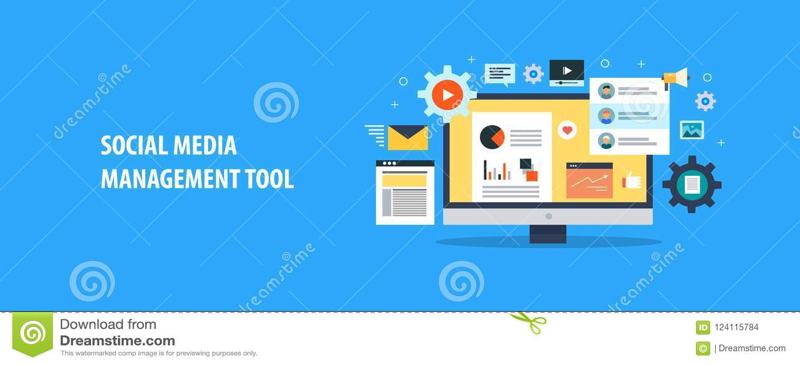 Social Media-Führungsinstrumente - Social Media-Automatisierung - Content Management-System Flache Designvektorfahne