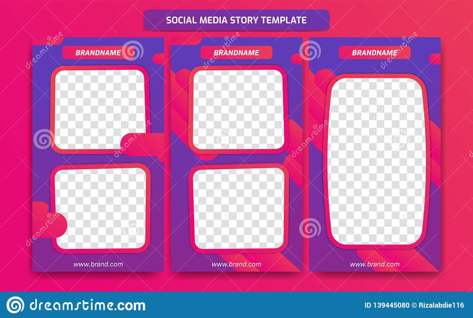 Social Media-Geschichtenrahmen-Schablonenentwurf der Zusammenfassung modischer moderner mit abstrakter flüssiger Steigung des pur
