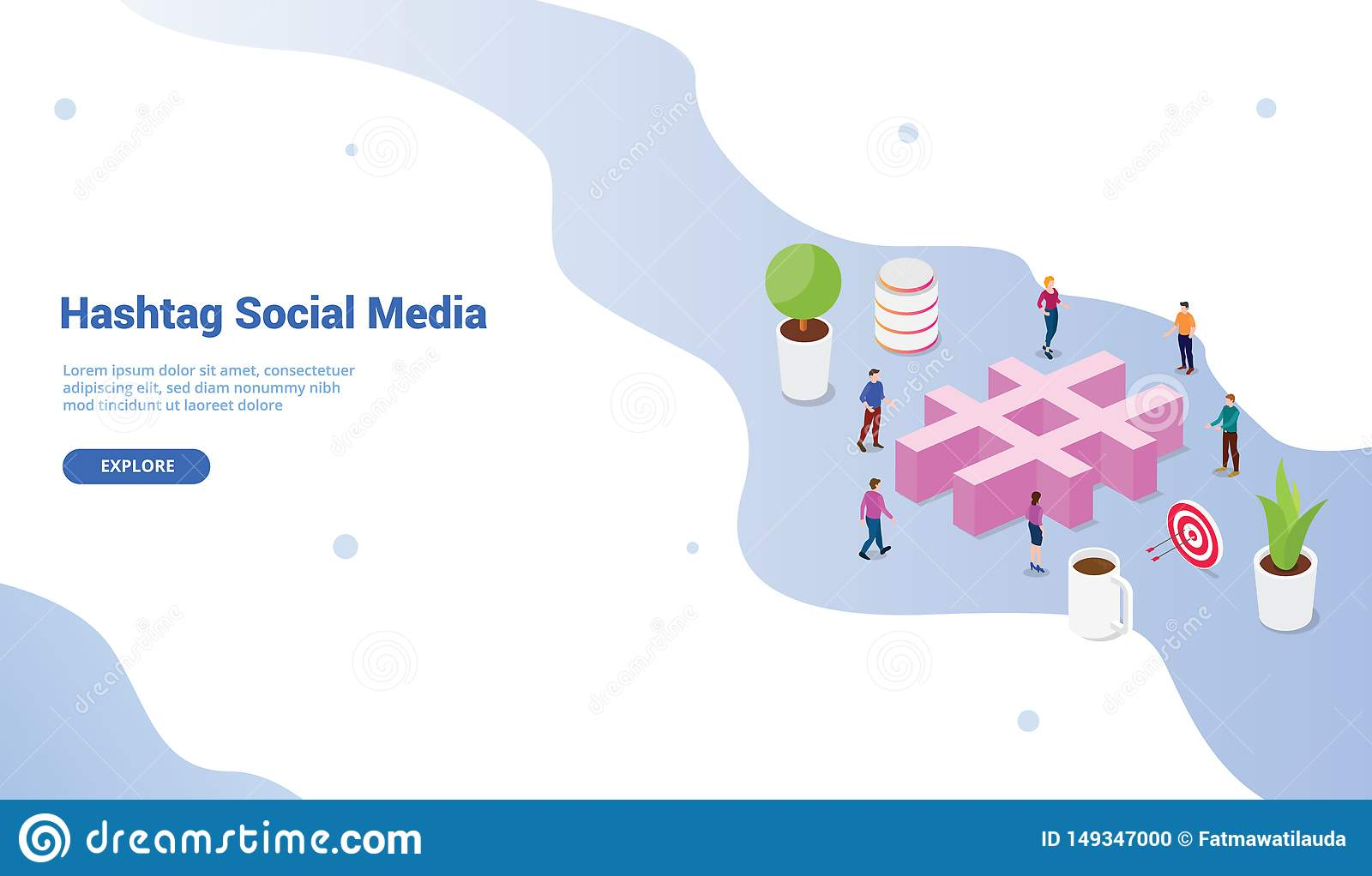 Social media hashtag concept with crowd people and business icon for website template or landing homepage design - vector