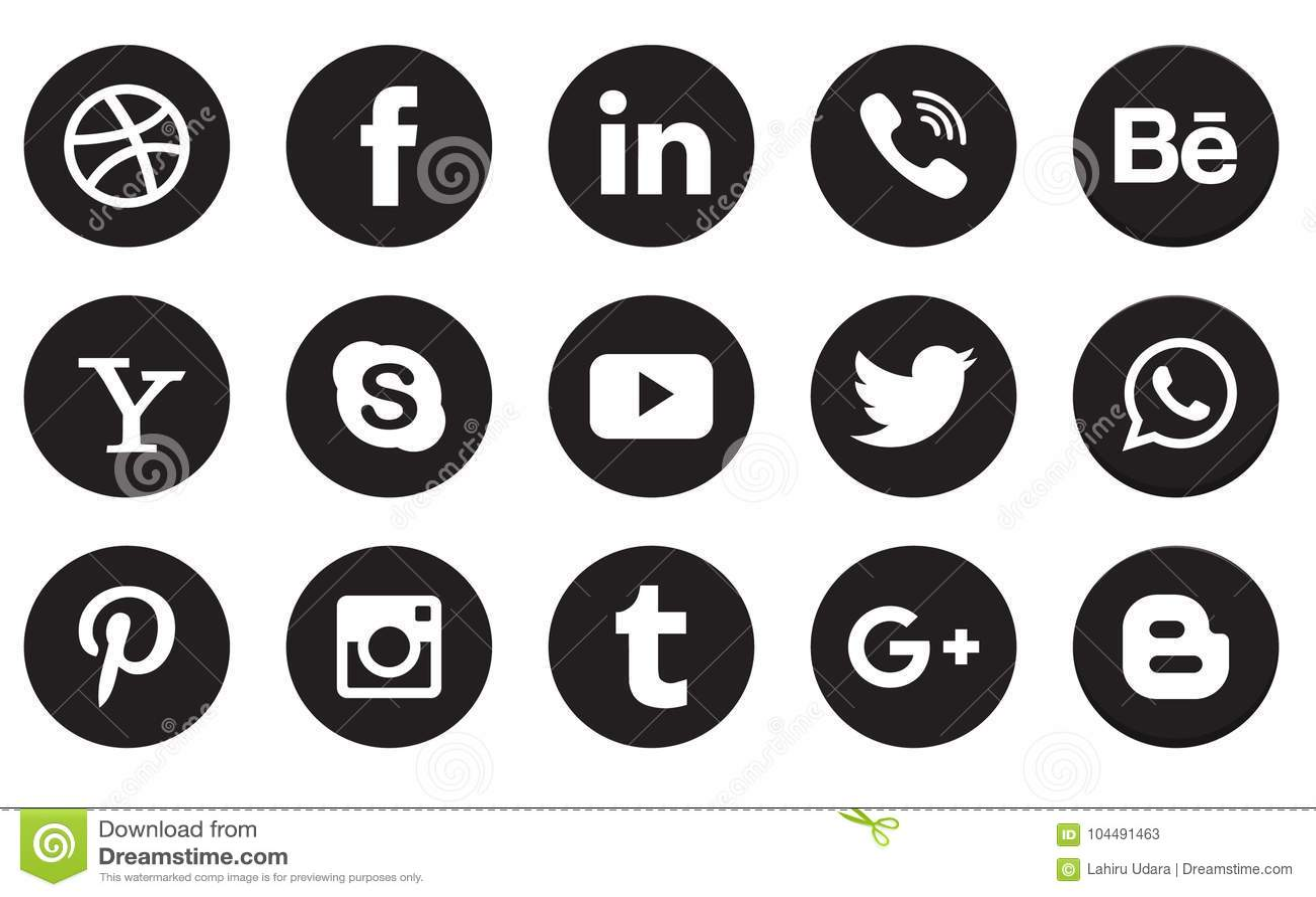 Social media icon collection buttons