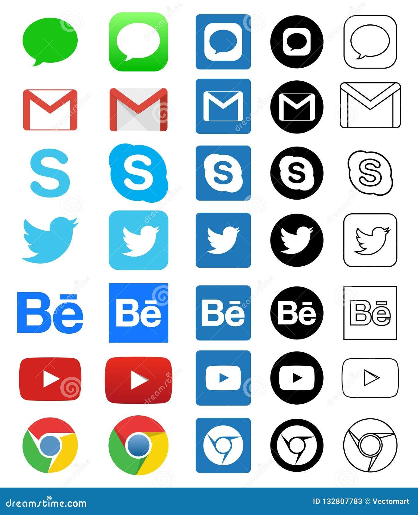 Illustrative editorial of social media icon for Facebook, Whatsapp, Skype,  Youtube, Instagram, Snapchat, Hangout Twitter d408021339