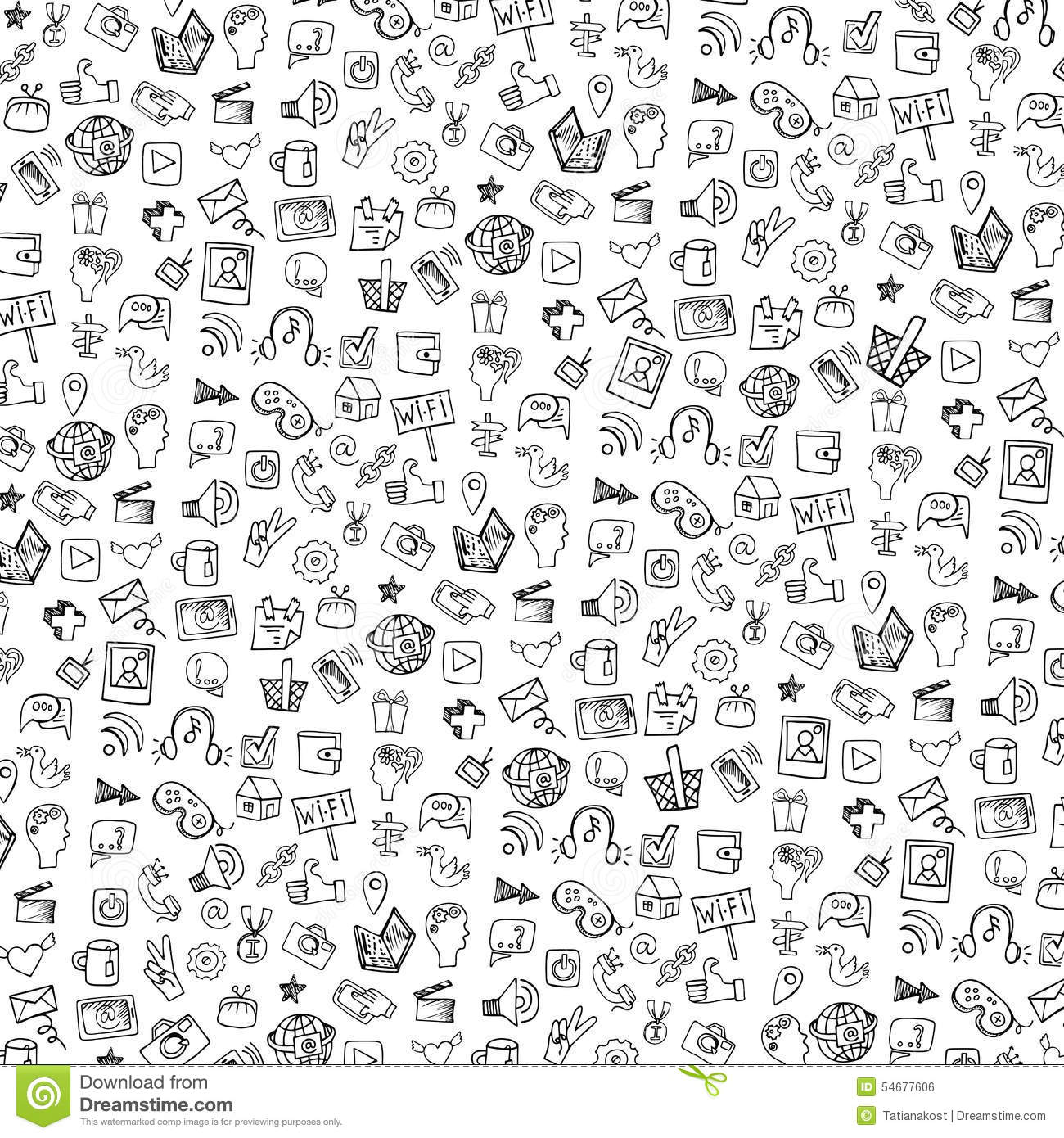 Social Media Icon PatternbackgroundDoodle Stock Vector
