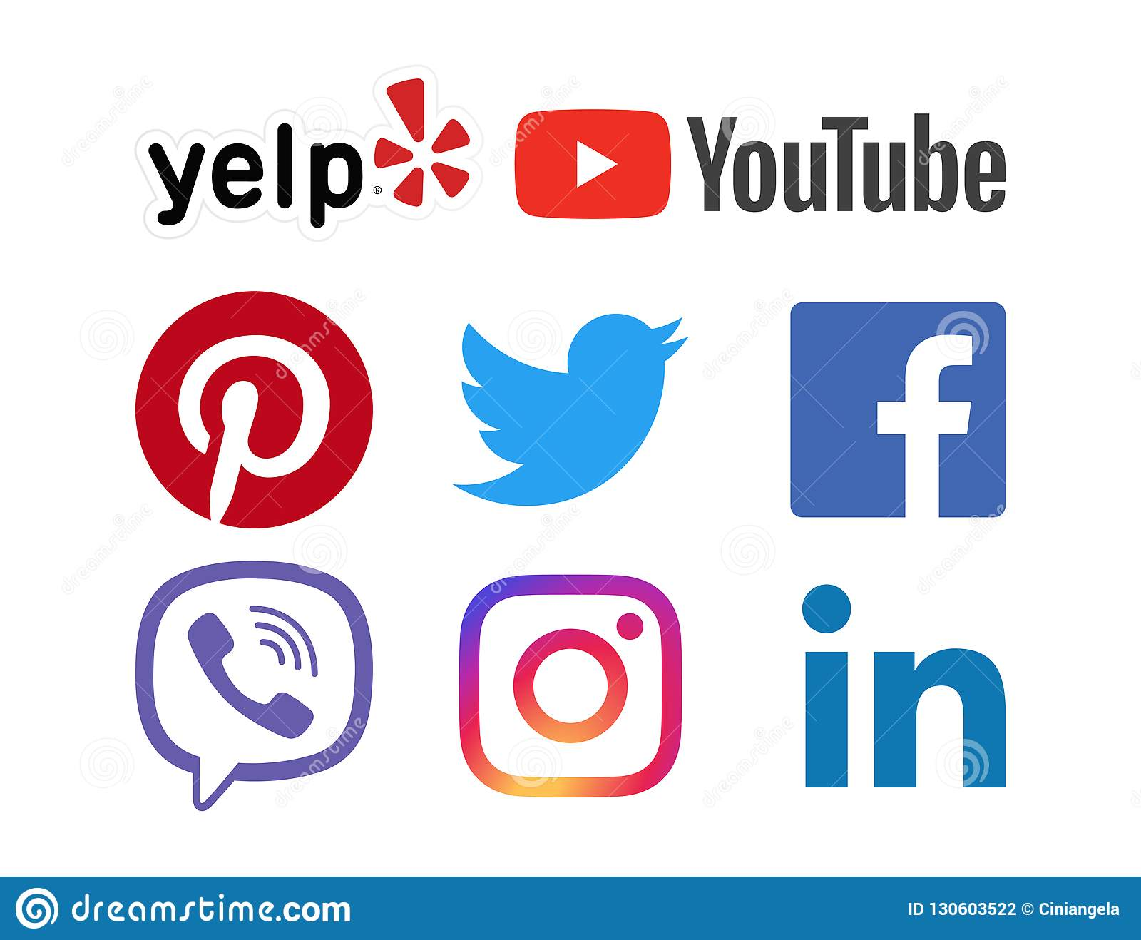 a7086e918d7a Social Media Icon Set with Facebook, Yelp, Instagram, Youtube, Twitter,  pinterest, Linkedin, Viber Icons