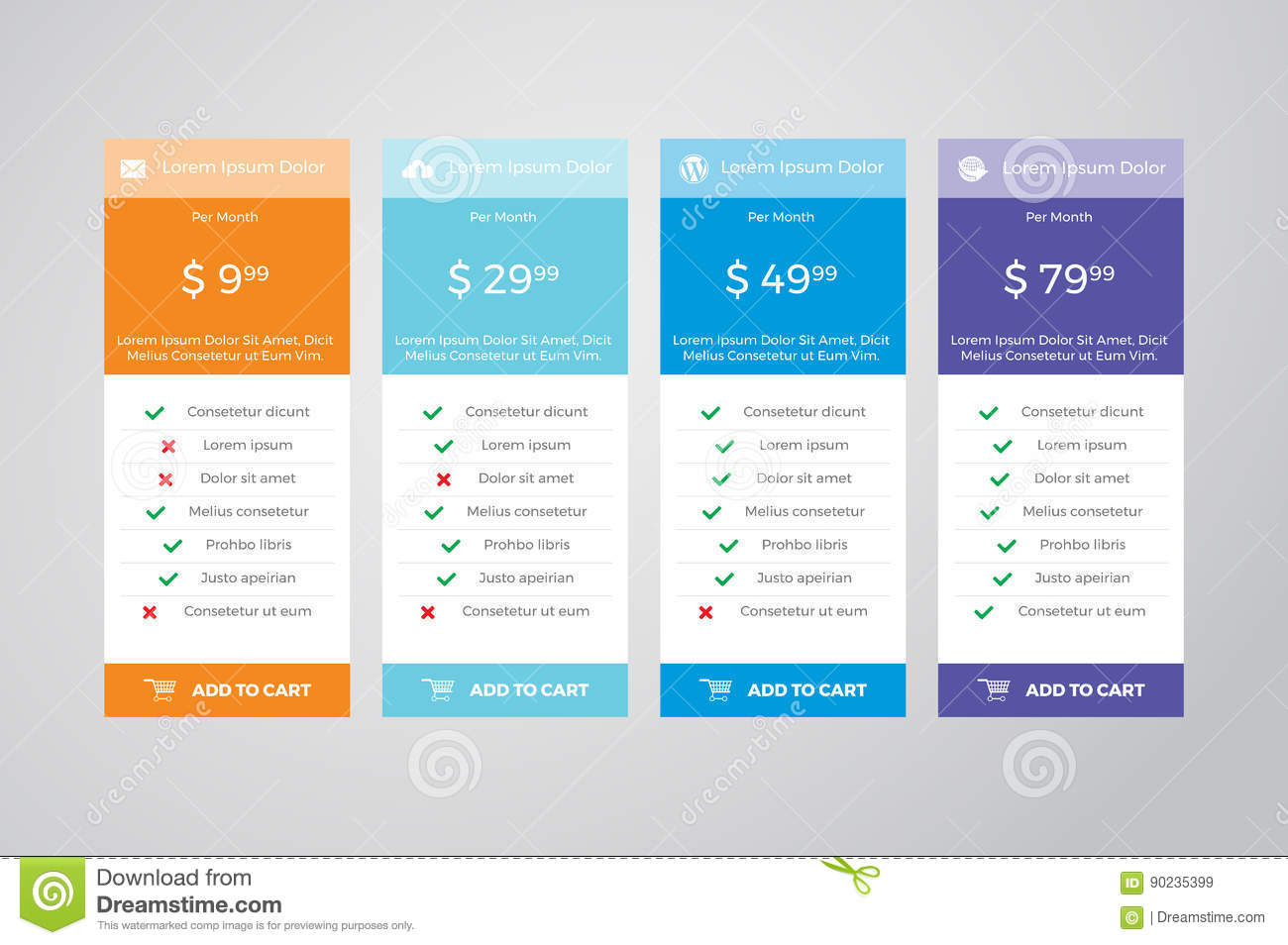 Pricing table vector design stock vector image 90235399 for Table design vector