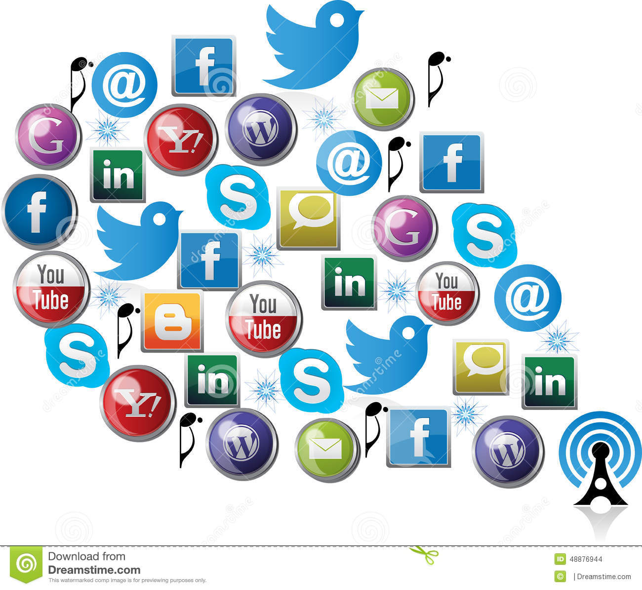 Different Social Media Icons Editorial Photo - Image: 49703436