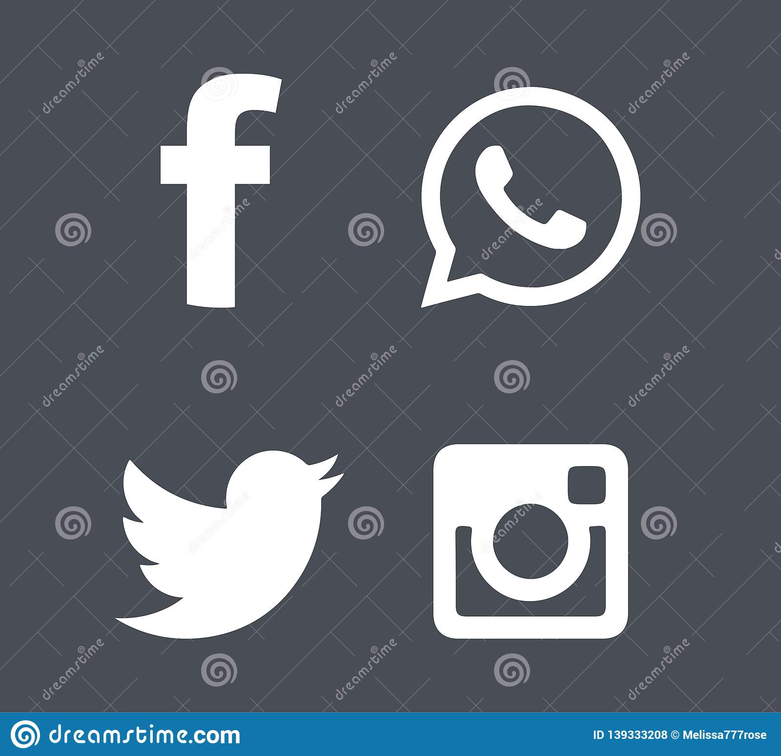 Social media icons in grey background