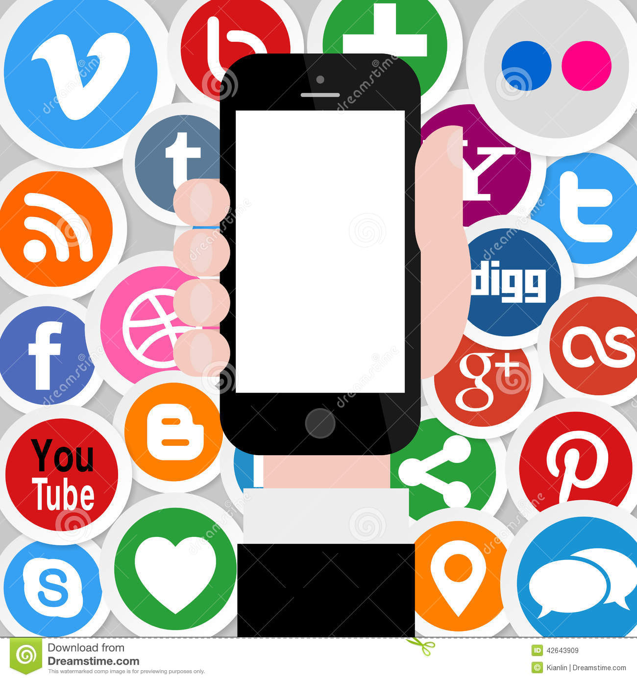 Social Media Icons with Hand Holding Smartphone 2