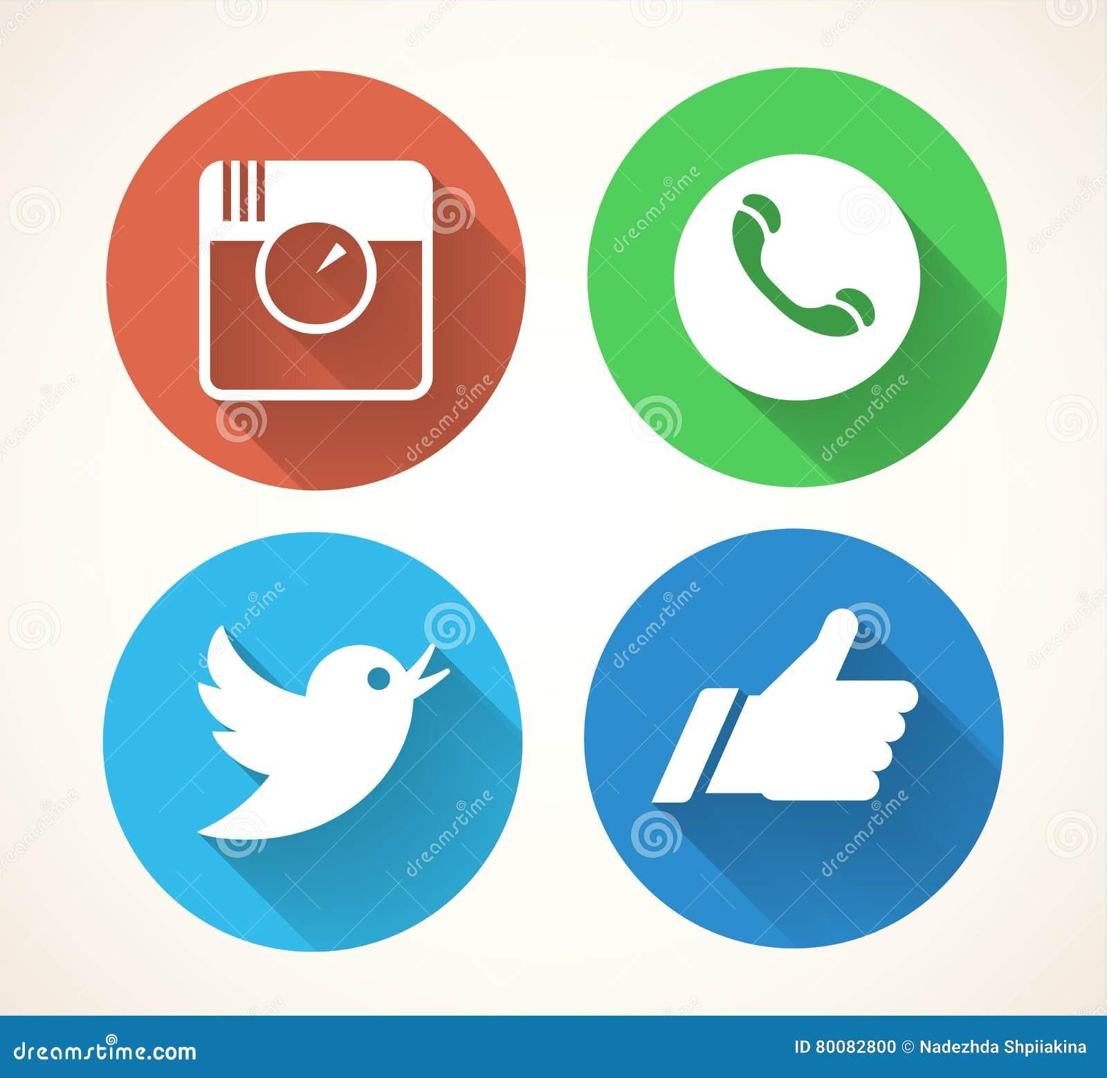 Social Media Icons Set Colorfull Network Symbols Isolated On White