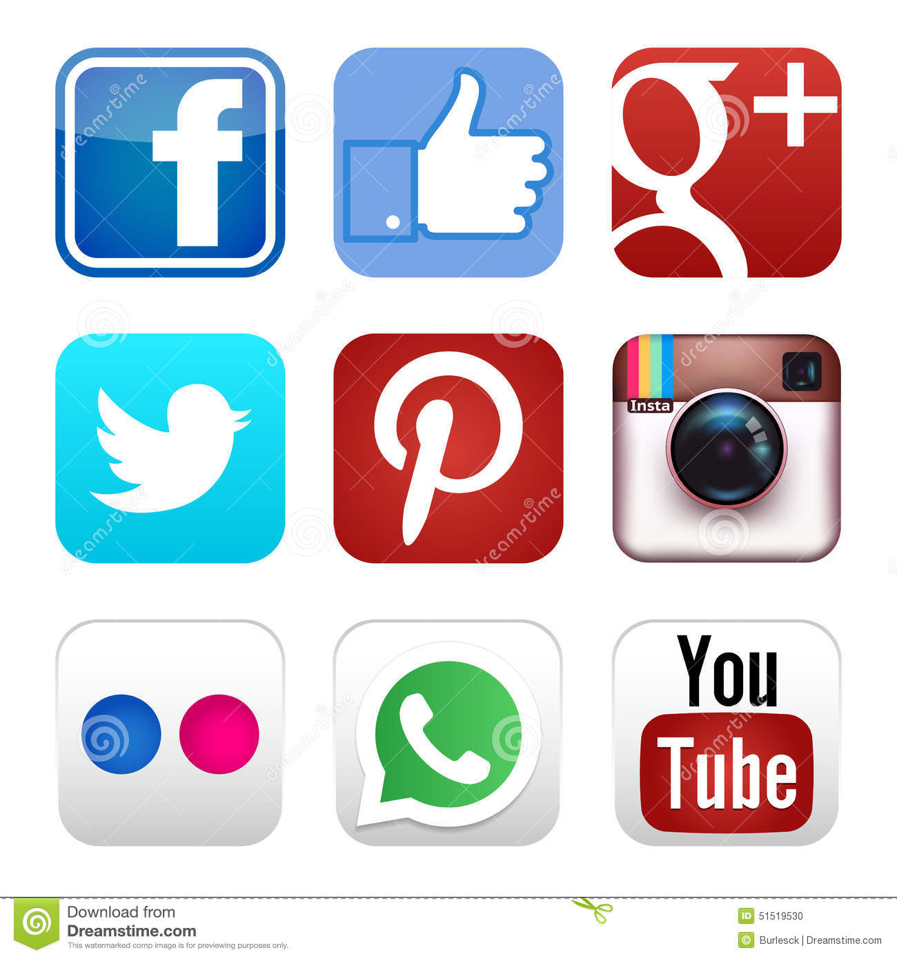 Social Media Clip Art Red