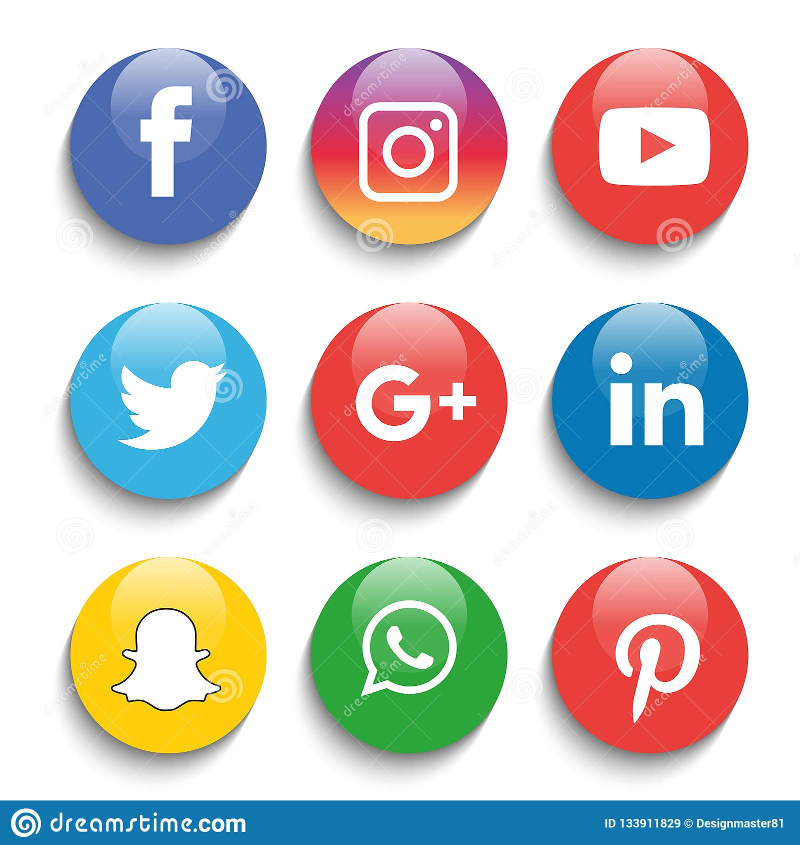 Instagram Pinterest Icons: Social Media Icons Set Logo Vector Illustrator Editorial