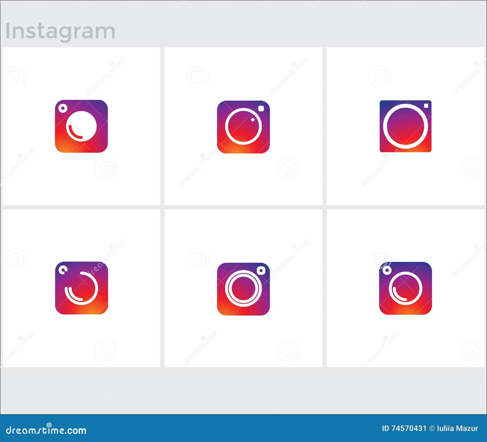 Vector Illustration Instagram: Social Media Icons Set, Photo Camera Instagram Stock