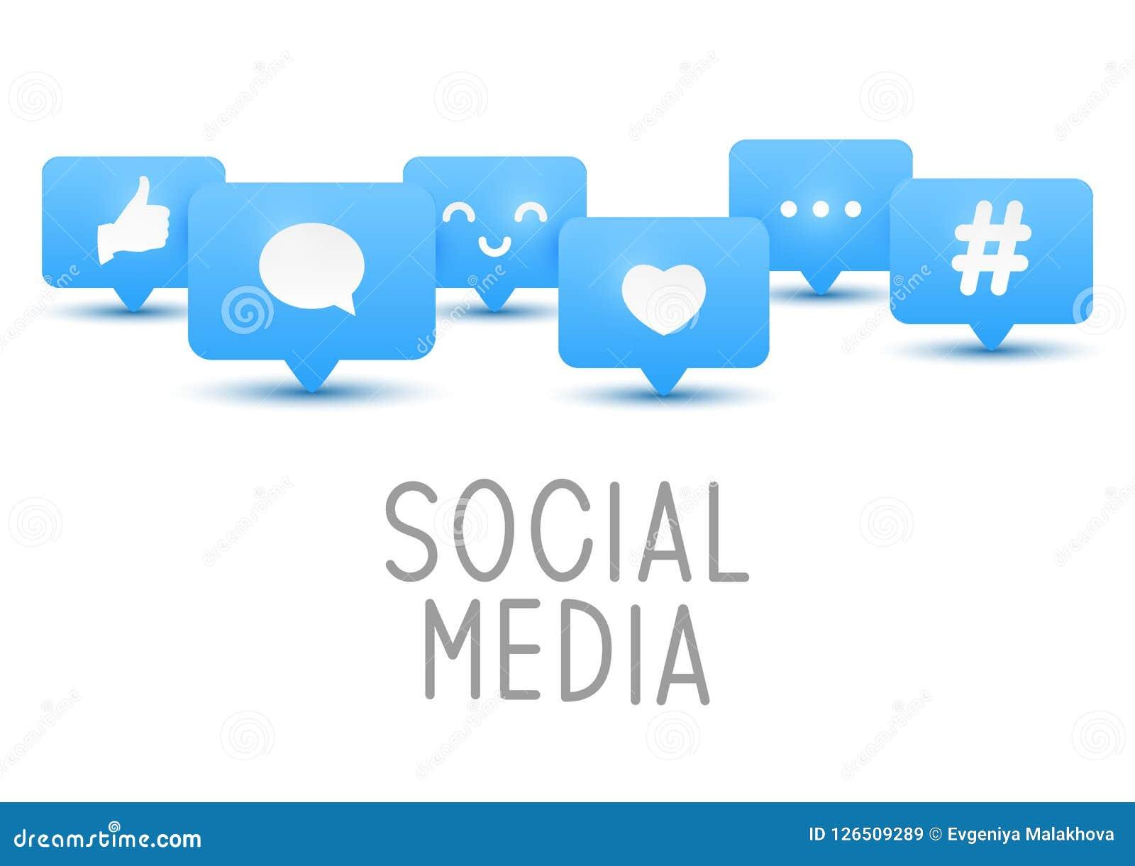 Social media icons on white