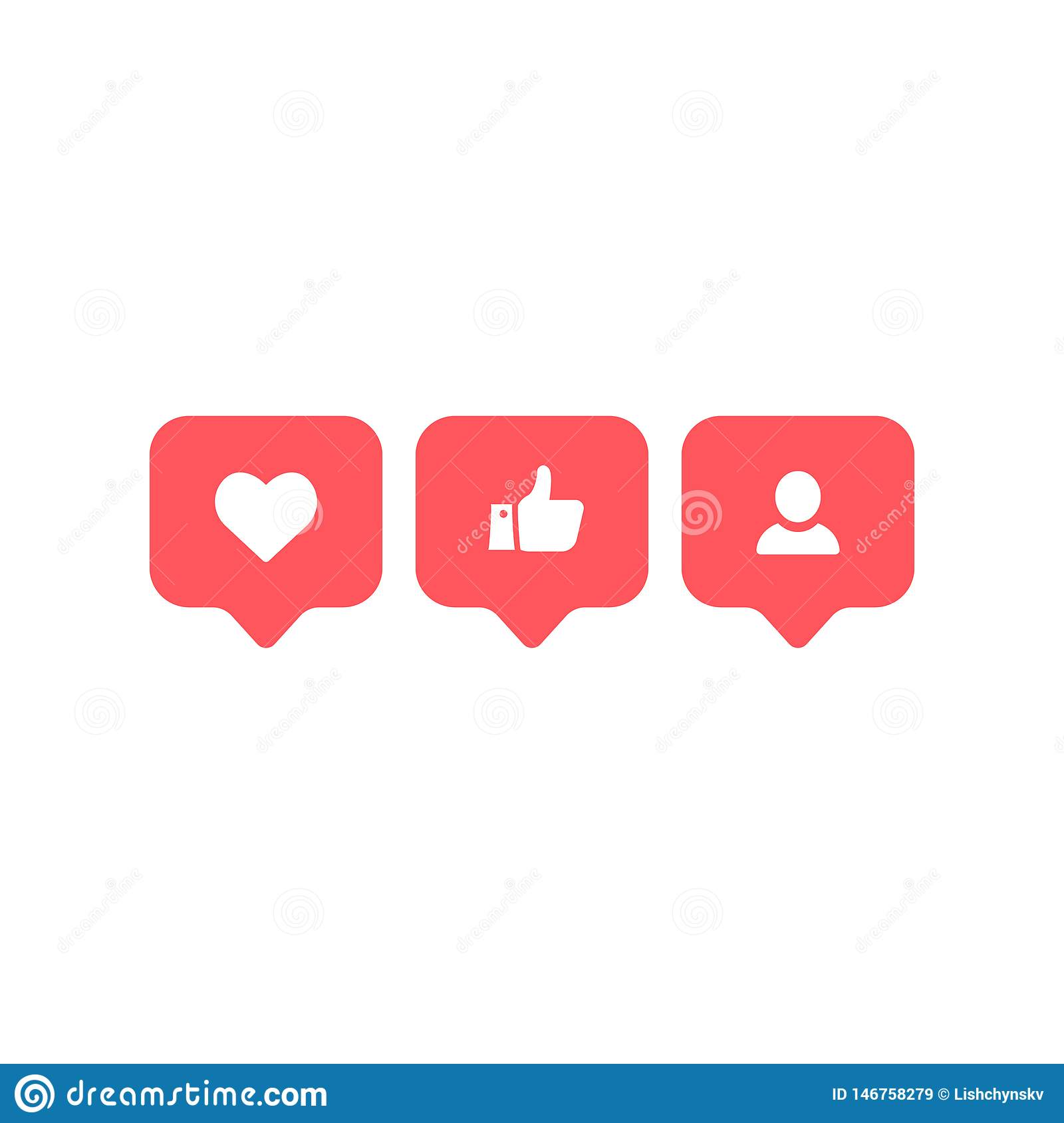Social Media Instagram Modern Like, Follower, Red Color. Follower, Comment Button, Icon, Symbol
