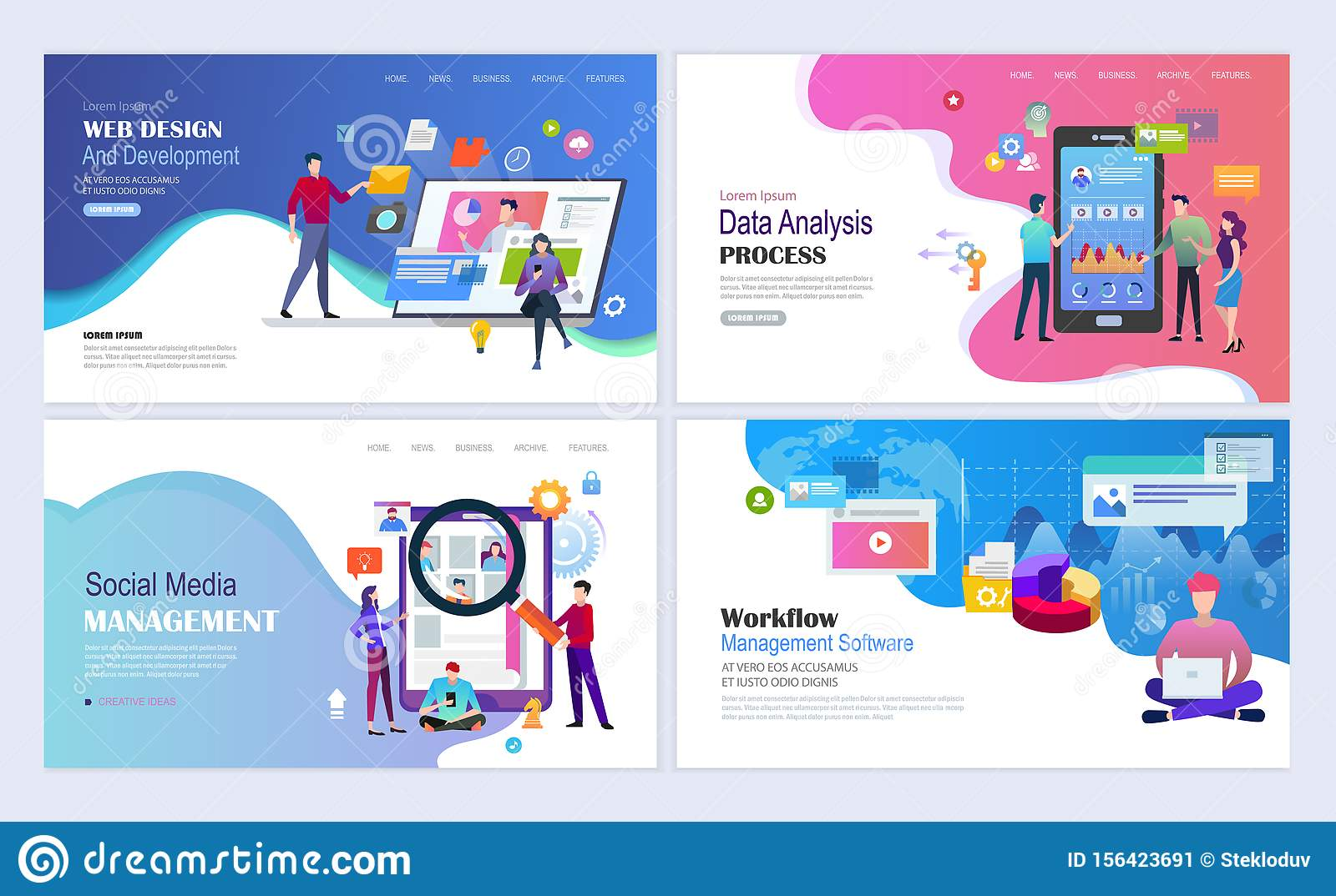 Social Media Management Landing Pages Template Stock Vector Illustration Of Computer Creative 156423691