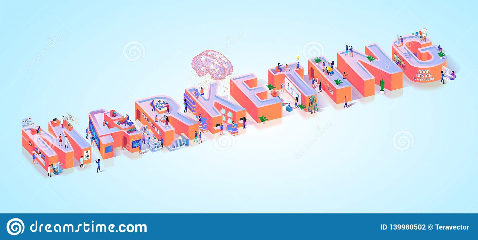Social Media Marketing Advertising Word Banner Stock Vector
