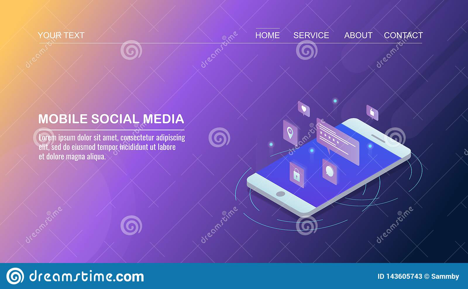 Social Media Marketing On Mobile Social Networking App Digital Marketing Isometric Design Concept Stock Vector Illustration Of Mobile Email 143605743
