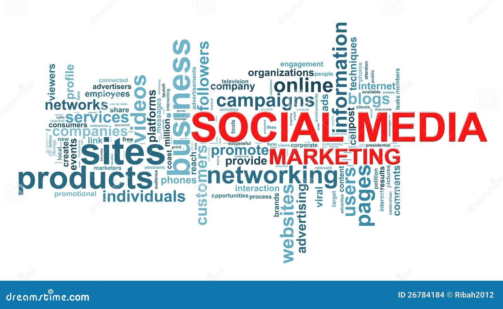 social media marketing word tags stock illustration illustration