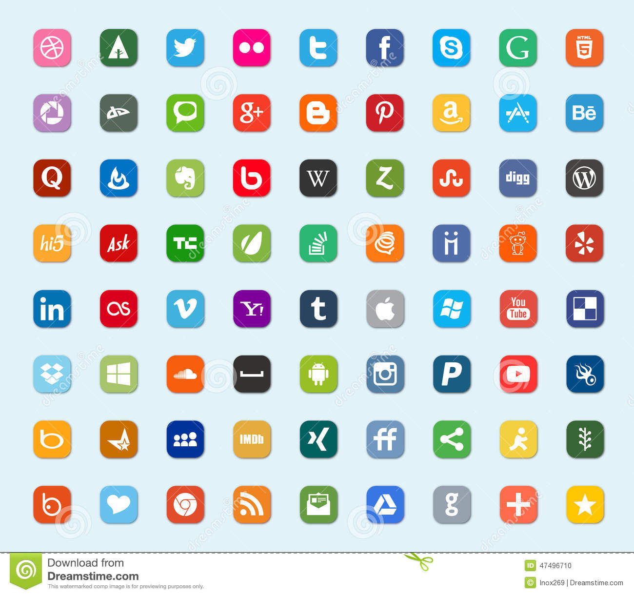 Social media and network color flat icons