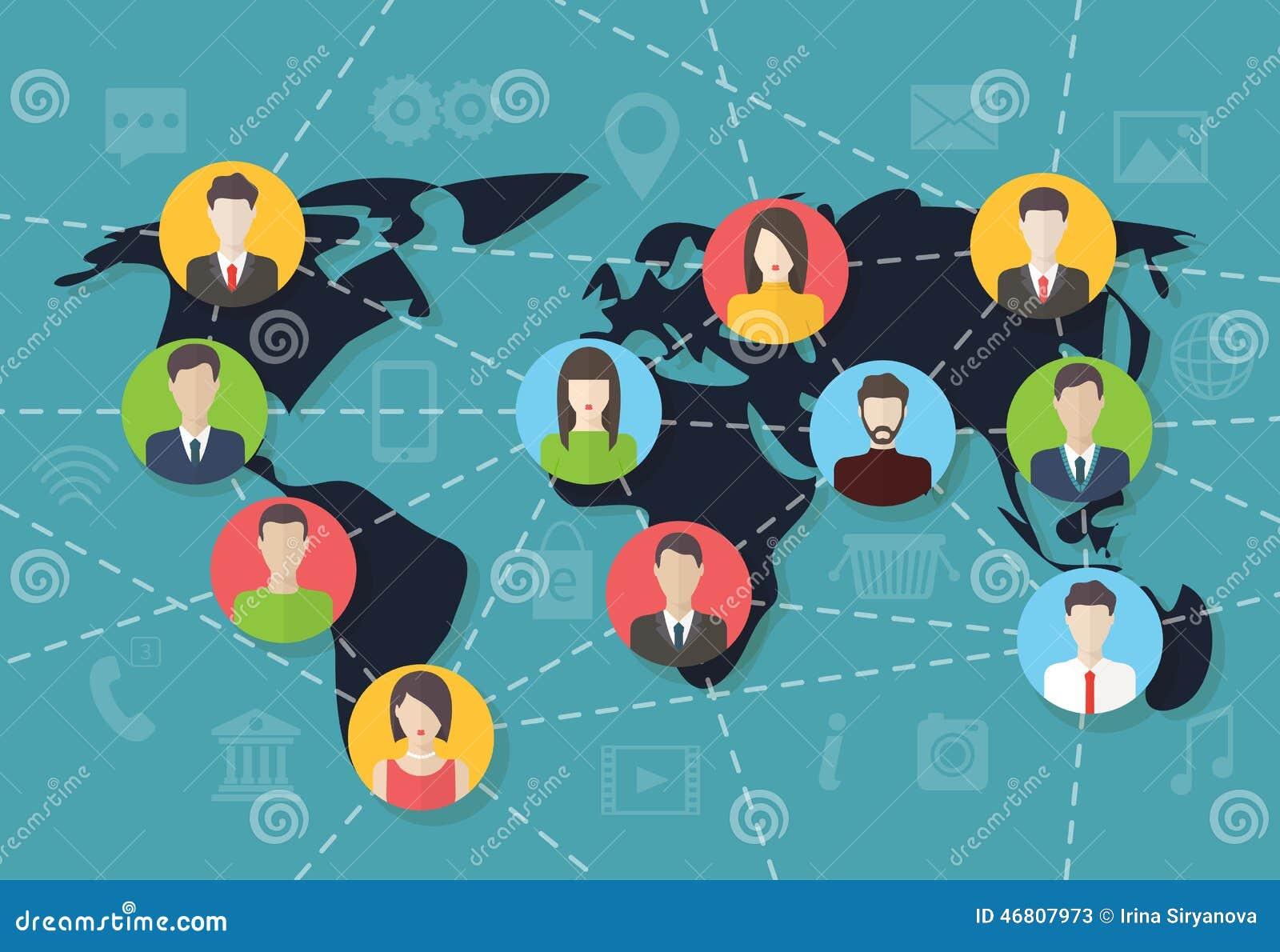 Social media network connection concept, vector