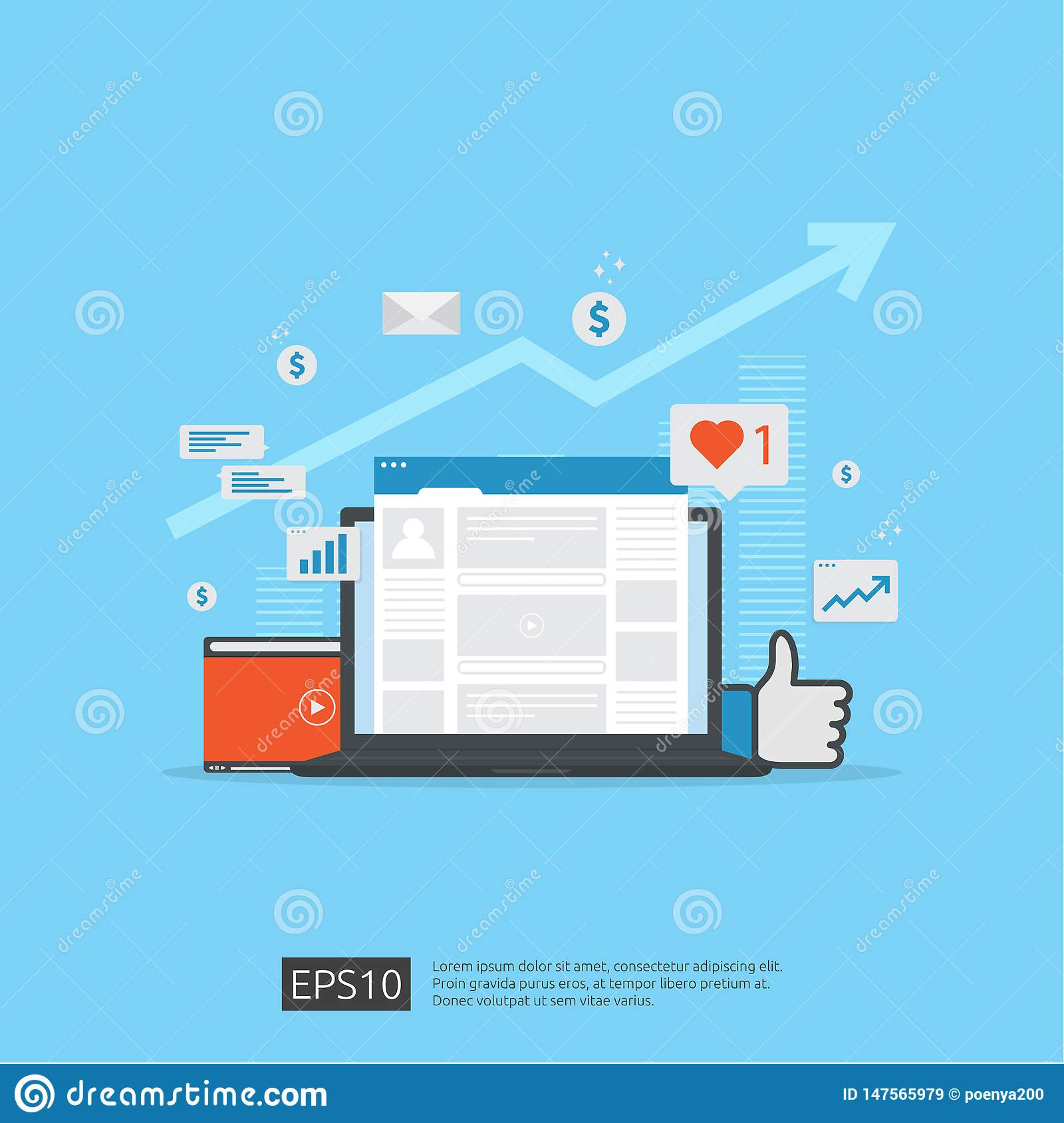 Social media network and digital marketing concept for poster, web page, banner, presentation. web traffic audience analysis for
